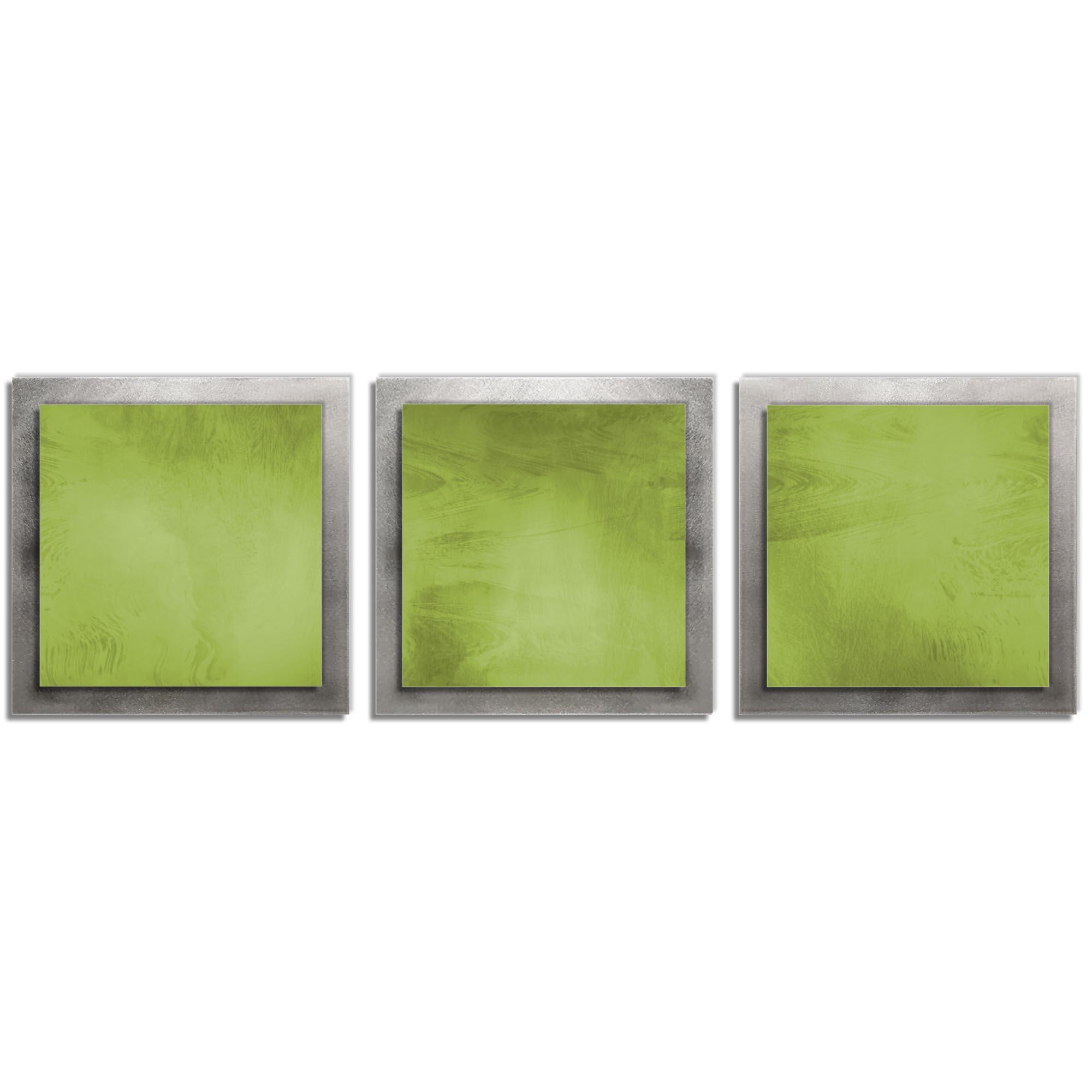 Green Essence - Layered Modern Metal Wall Art
