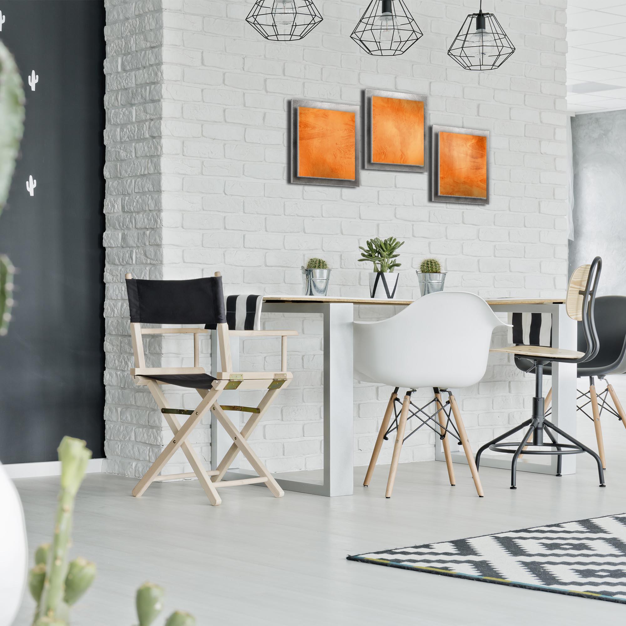 Orange Essence - Layered Modern Metal Wall Art - Lifestyle Image