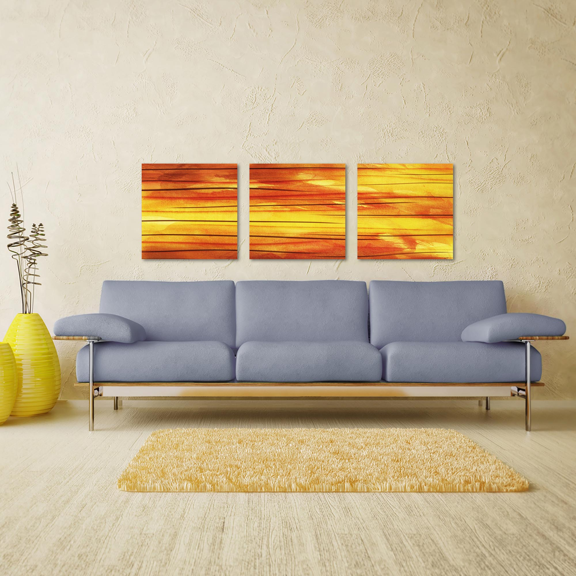 Momentum Triptych Large 70x22in. Metal or Acrylic Abstract Decor - Lifestyle View