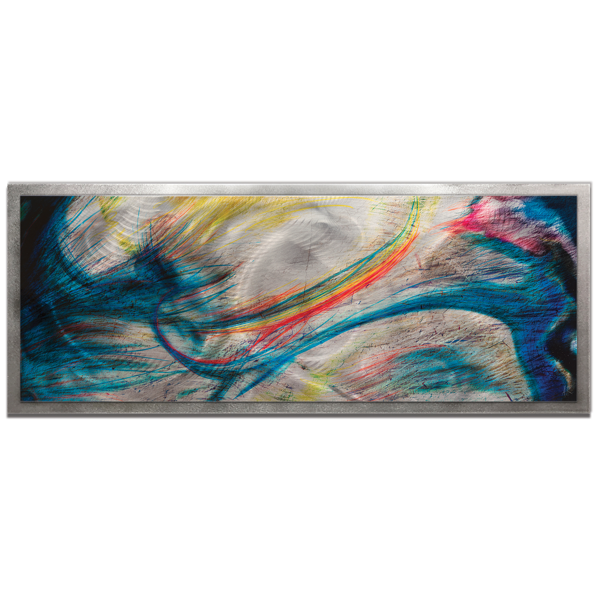 NAY 'Grace and Virtue Framed' 48in x 19in Abstract Rainbow Painting Art on Colored Metal