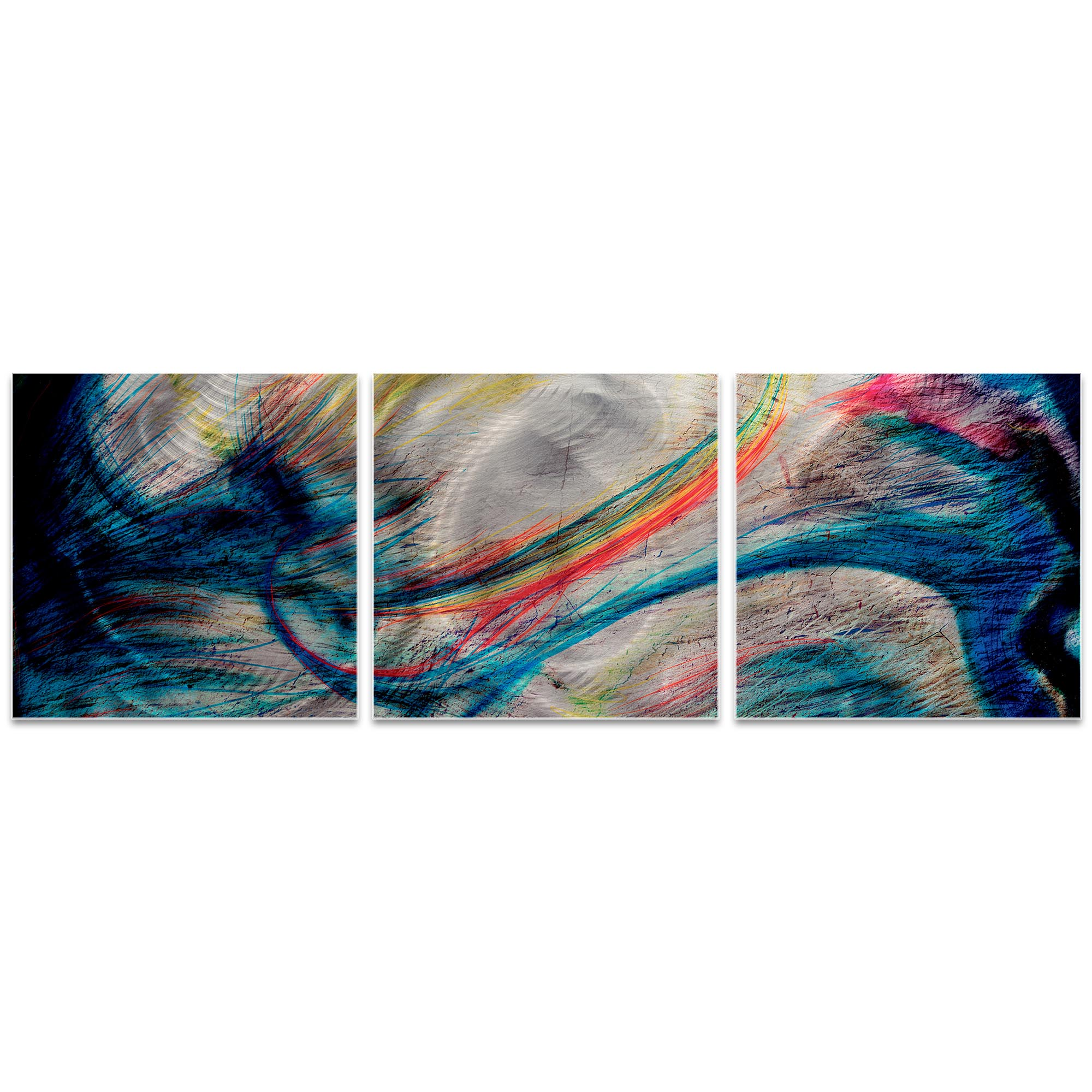 Grace and Virtue Triptych 38x12in. Metal or Acrylic Abstract Decor - Image 2