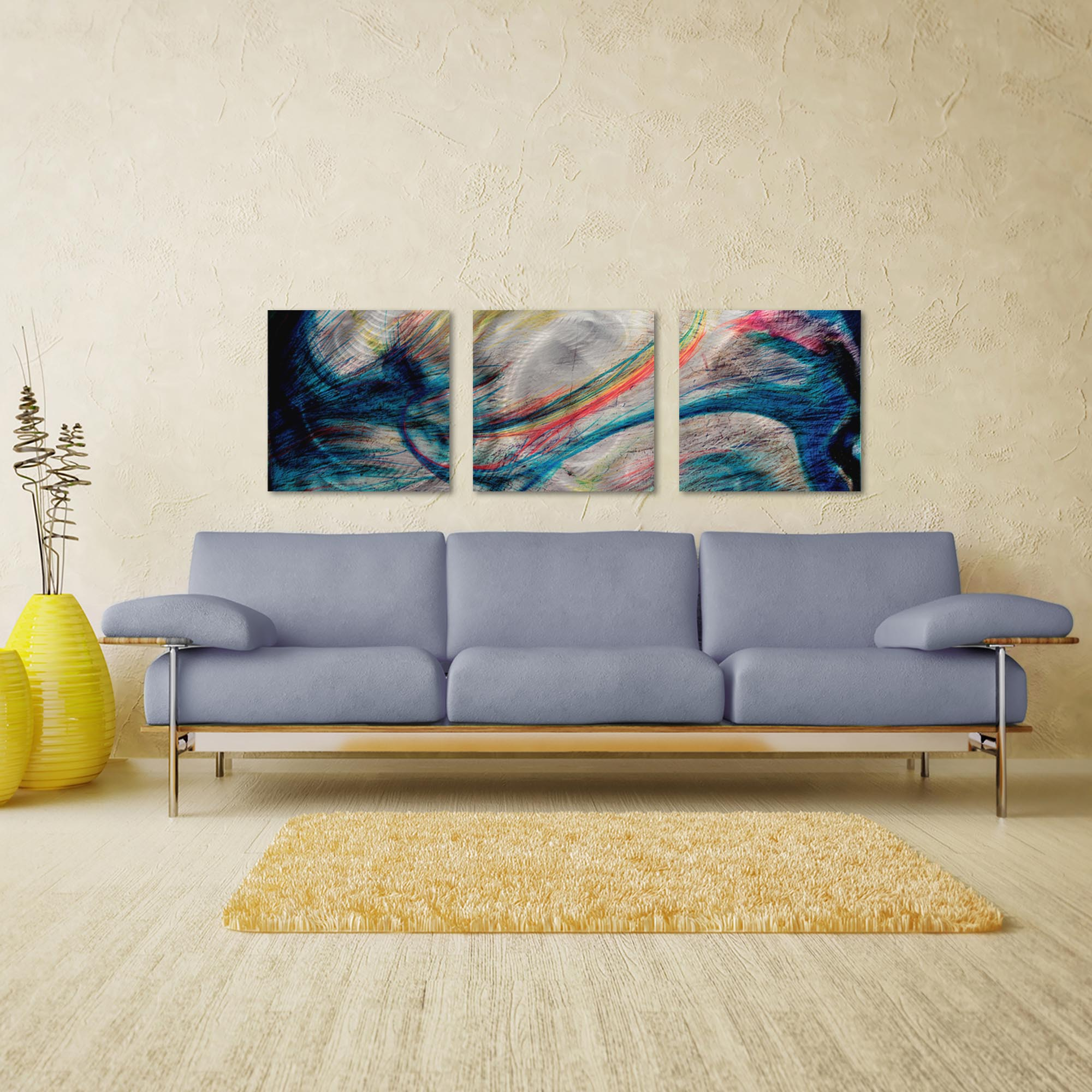 Grace and Virtue Triptych Large 70x22in. Metal or Acrylic Abstract Decor - Lifestyle View