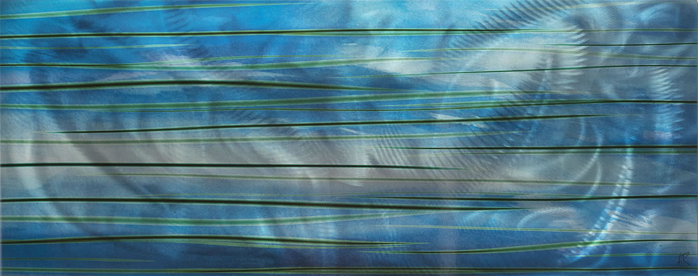 Ocean View - Calming Blue Streak Wall Artwork - Alternate Image