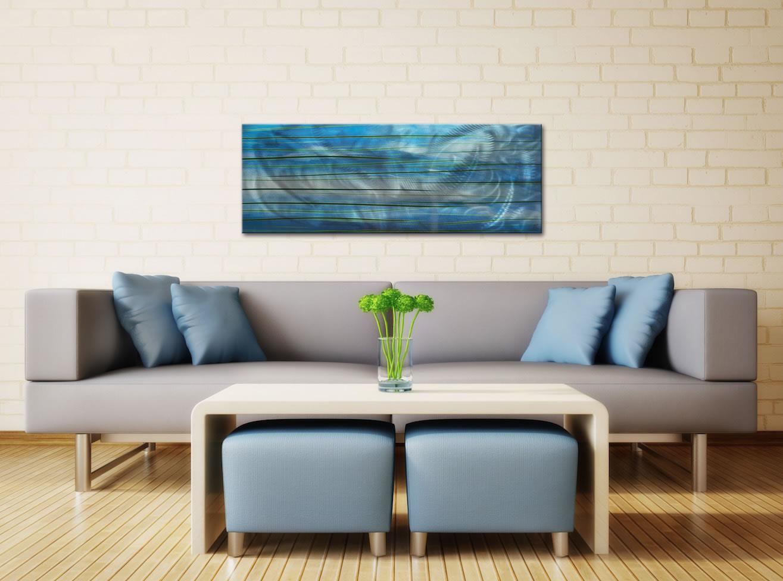 Ocean View - Calming Blue Streak Wall Artwork - Lifestyle Image