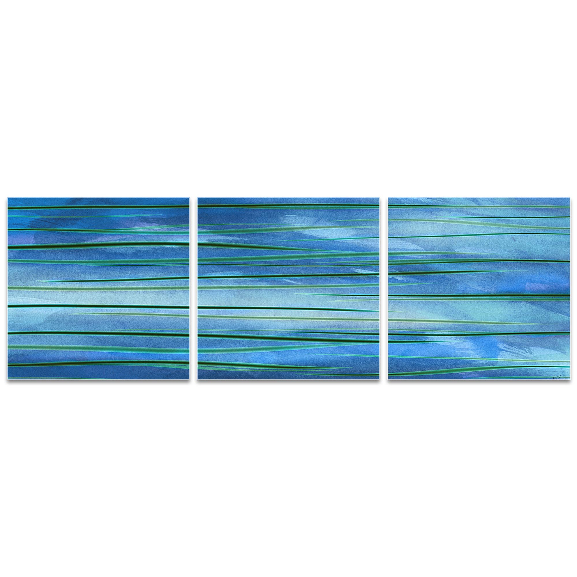 Ocean View Triptych 38x12in. Metal or Acrylic Abstract Decor - Image 2