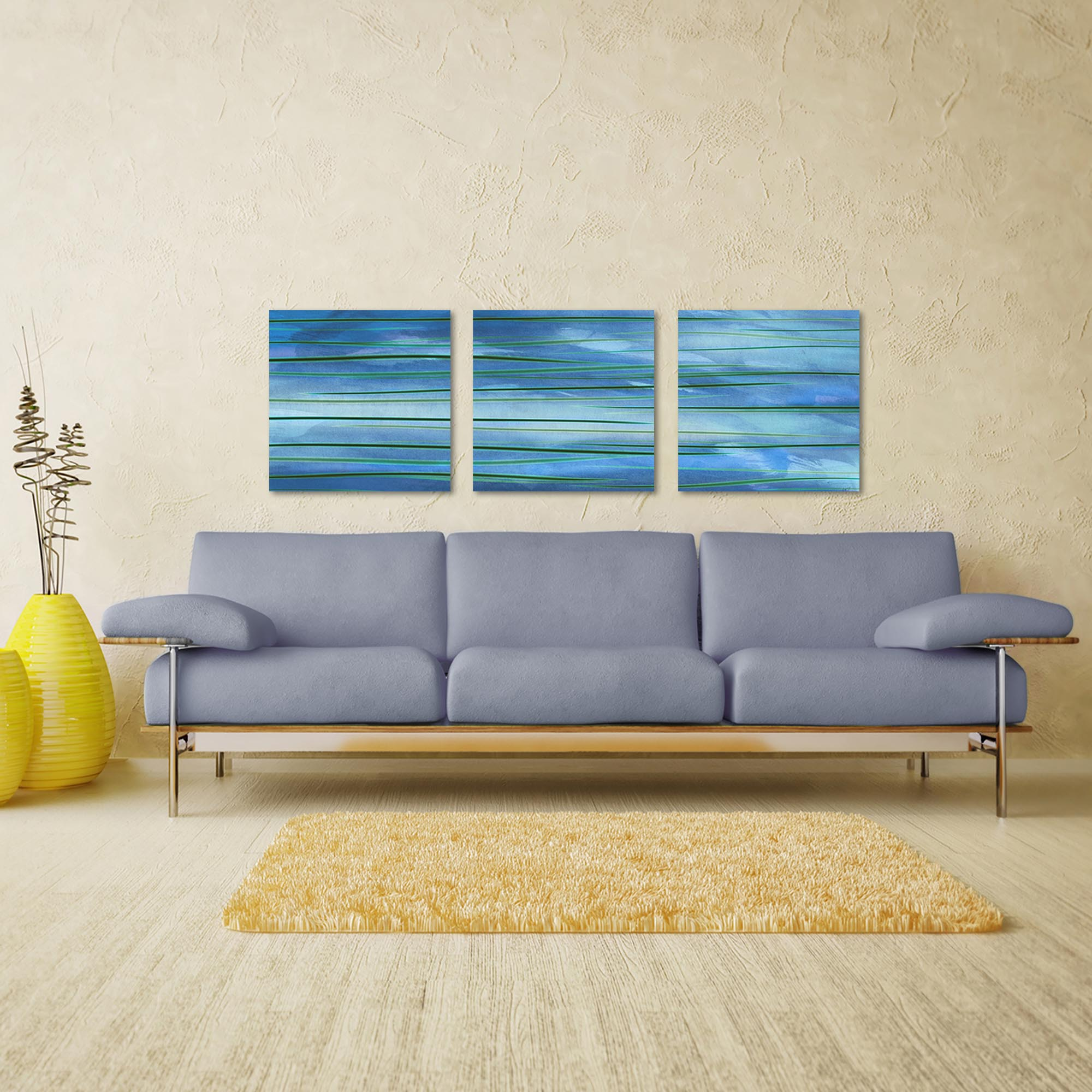 Ocean View Triptych Large 70x22in. Metal or Acrylic Abstract Decor - Lifestyle View