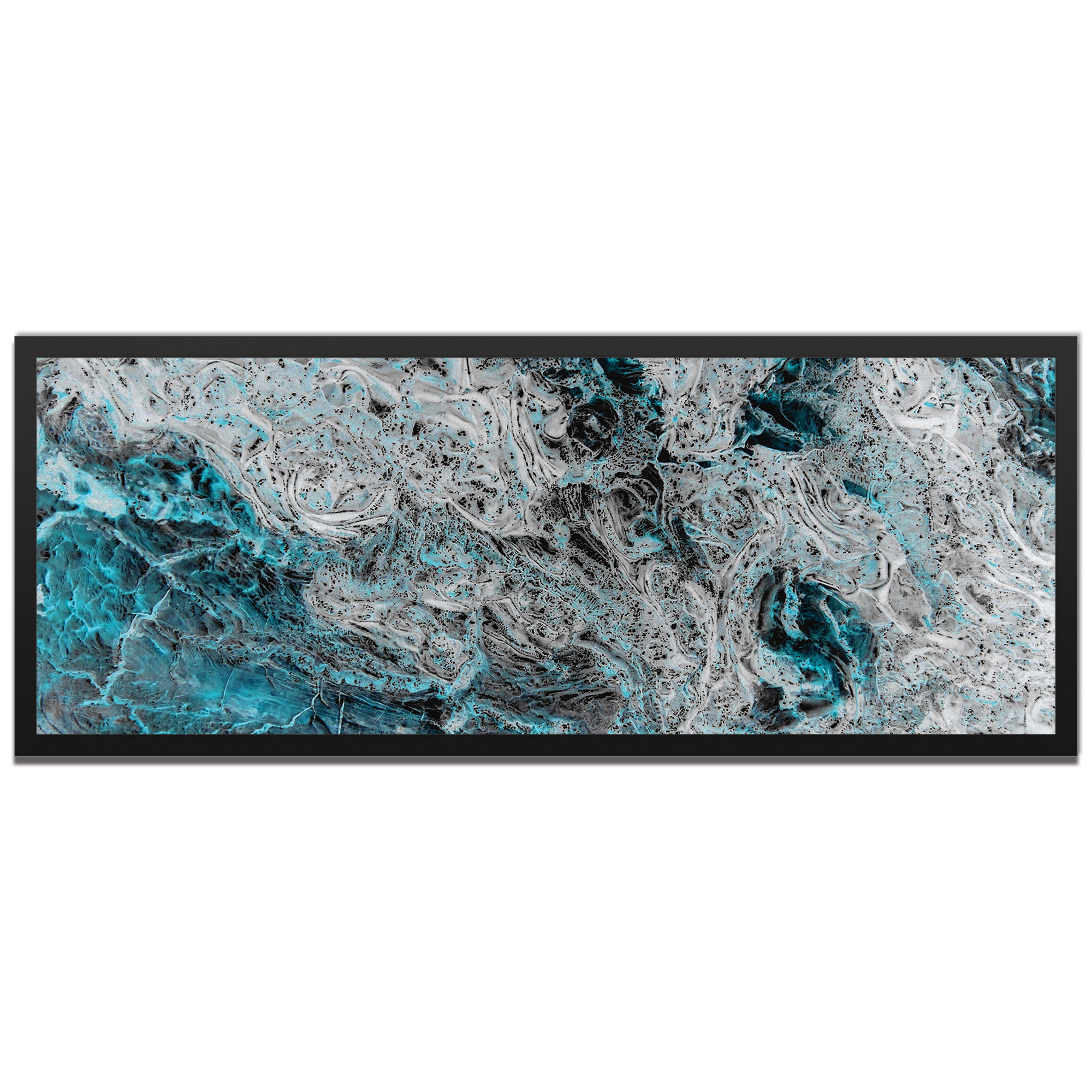 Emley 'Storm Turquoise Framed' 48in x 19in Abstract Abstract Turquoise Art Art on Colored Metal