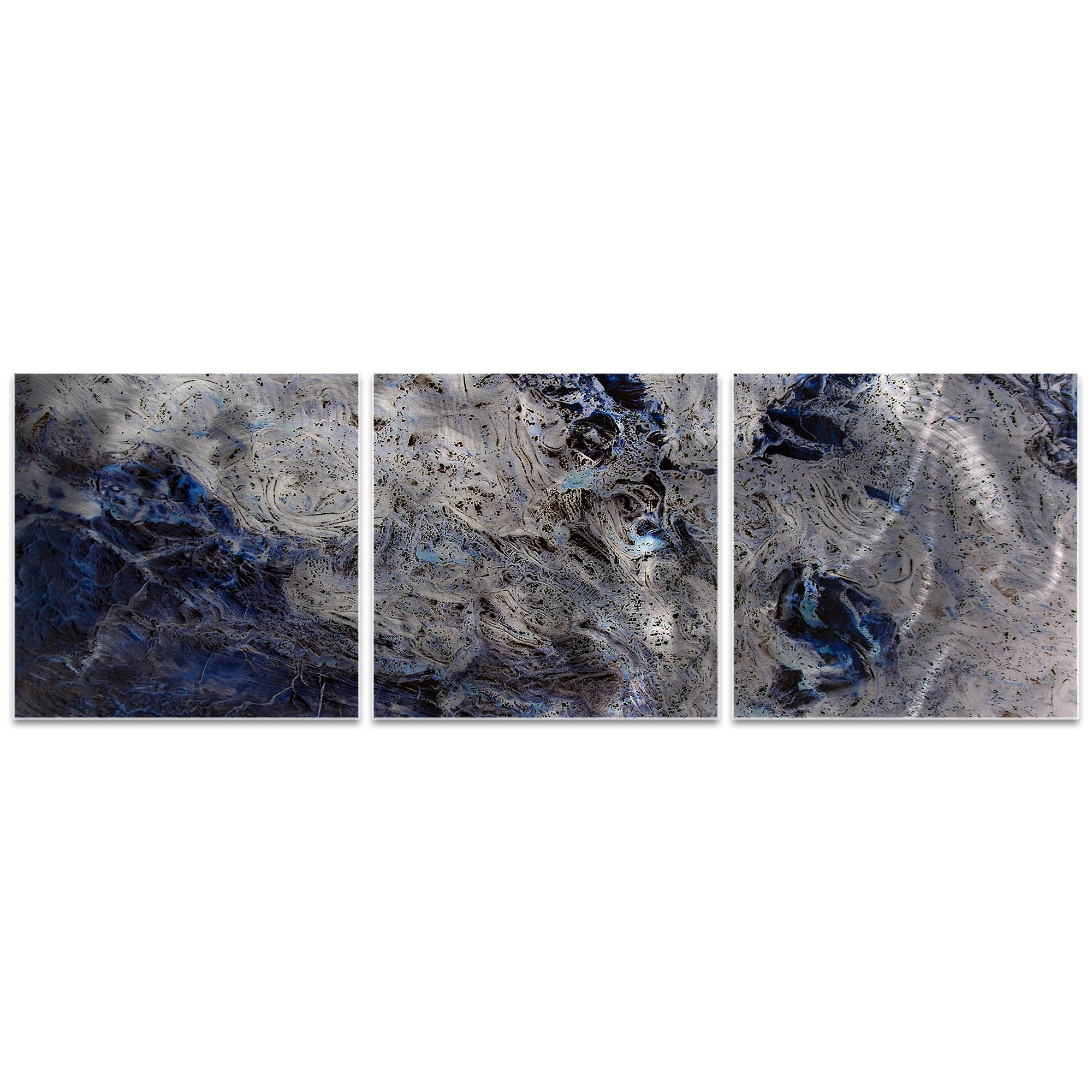 Storm Blue Triptych 38x12in. Metal or Acrylic Abstract Decor - Image 2