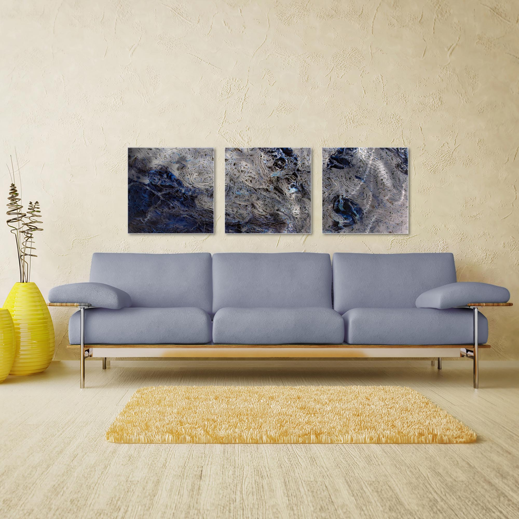 Storm Blue Triptych Large 70x22in. Metal or Acrylic Abstract Decor - Image 3