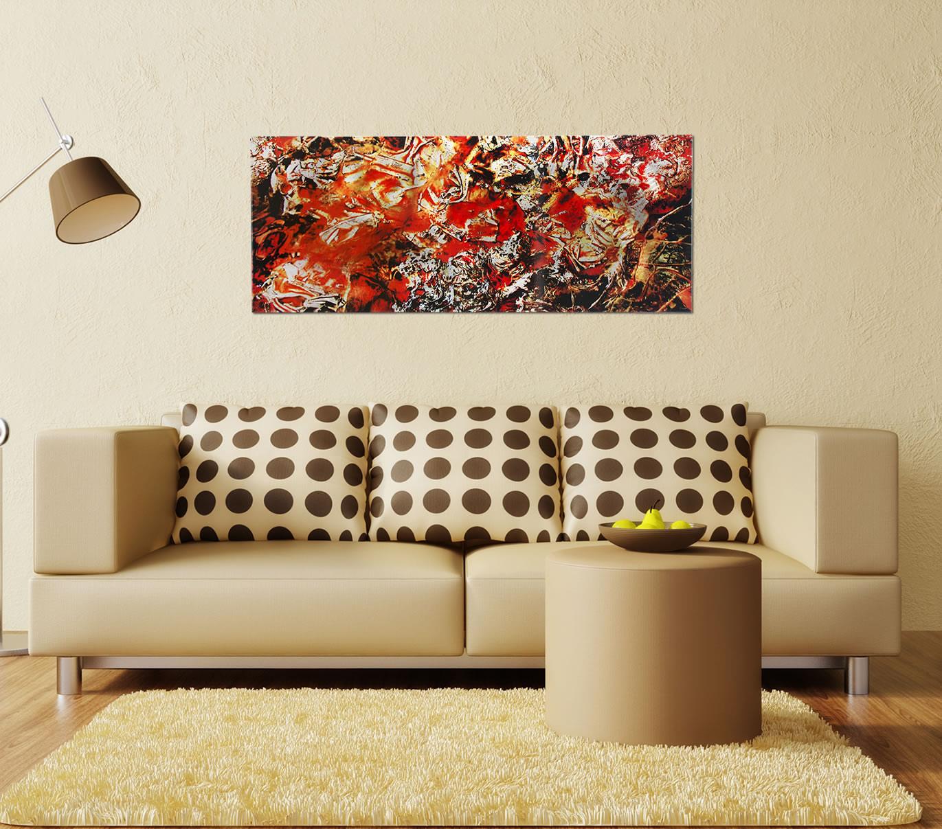 Cinders - Red/Orange Paint-Splatter Abstract Art - Lifestyle Image