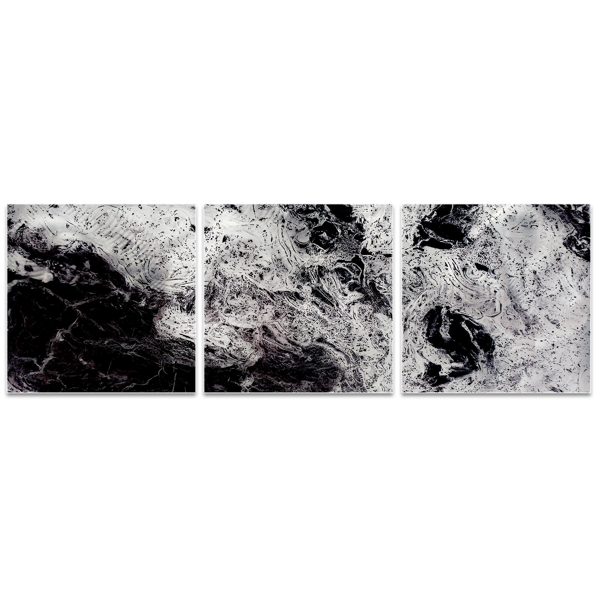 Storm Black Triptych Large 70x22in. Metal or Acrylic Abstract Decor - Image 2