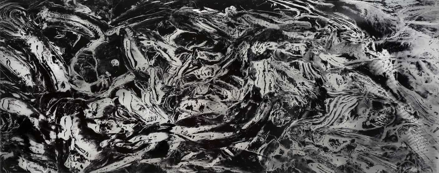 Convex - Black & White Paint-Splatter Abstract Art - Alternate Image
