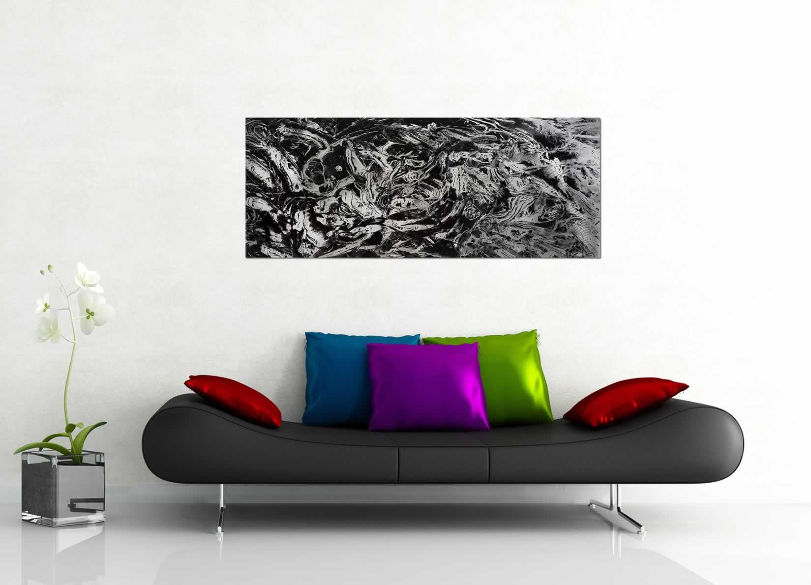 Convex - Black & White Paint-Splatter Abstract Art - Lifestyle Image
