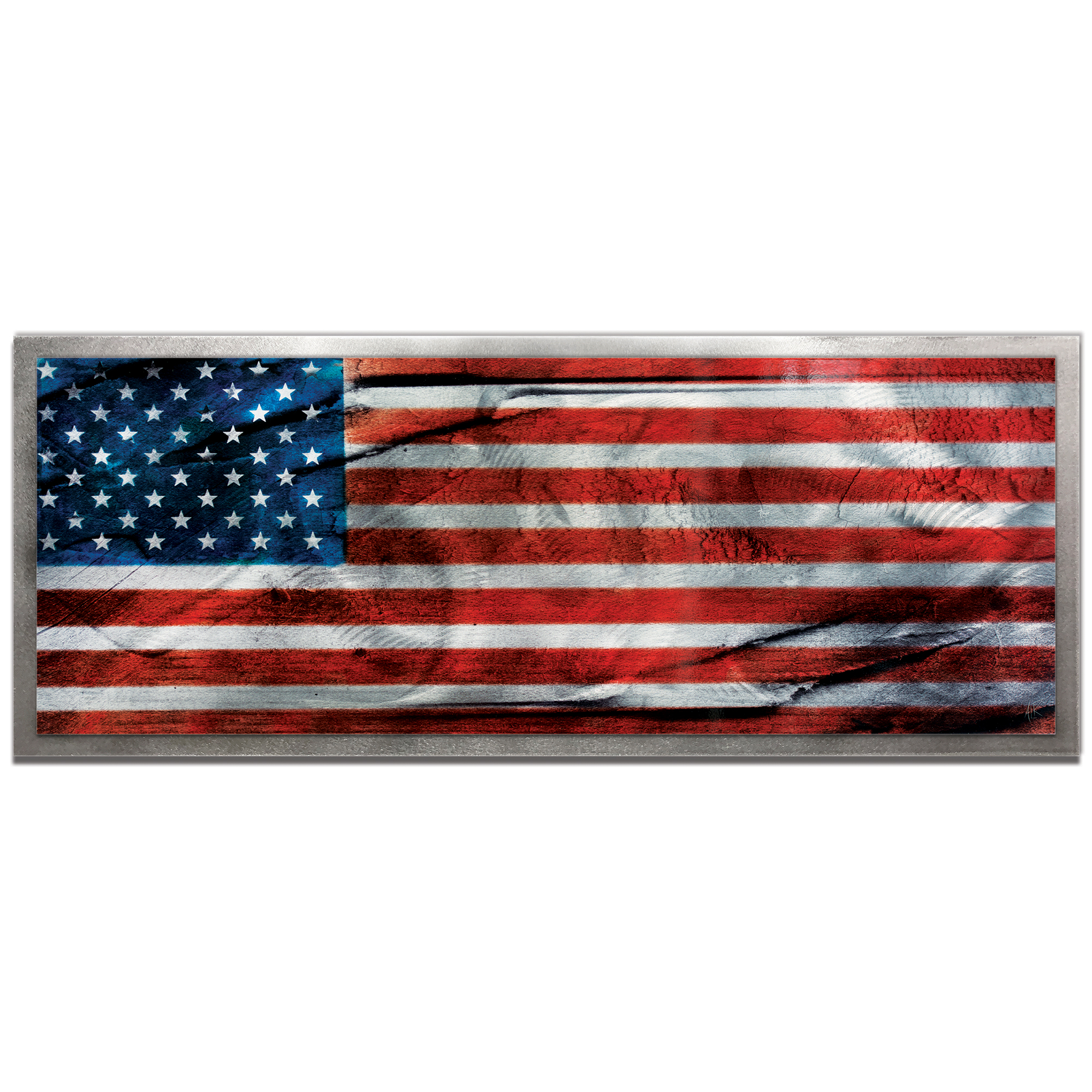 Amber LaRosa 'American Glory Framed' 48in x 19in Patriotic American Flag Art on Colored Metal