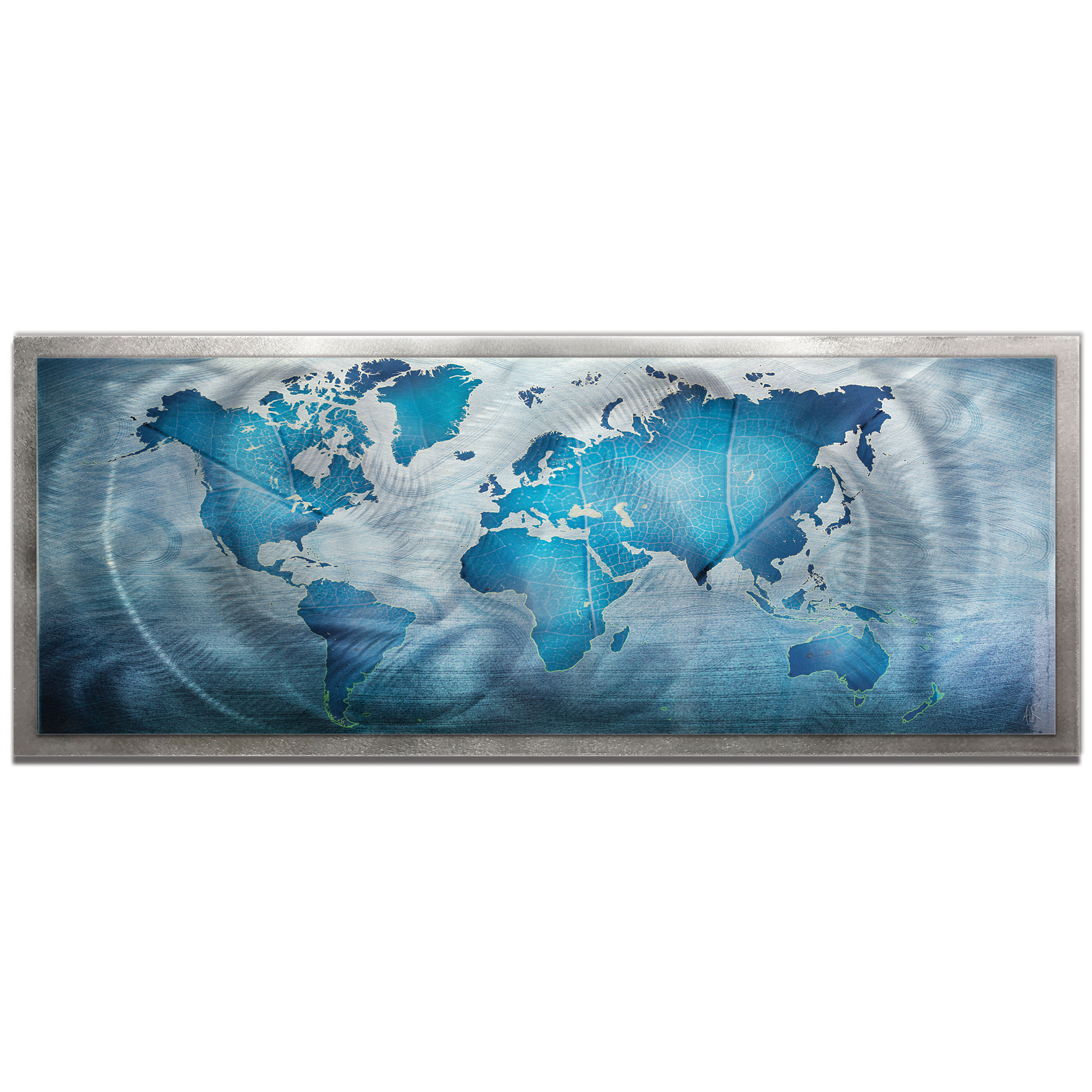 Amber LaRosa 'Land and Sea Framed' 48in x 19in Traditional World Map Art on Colored Metal
