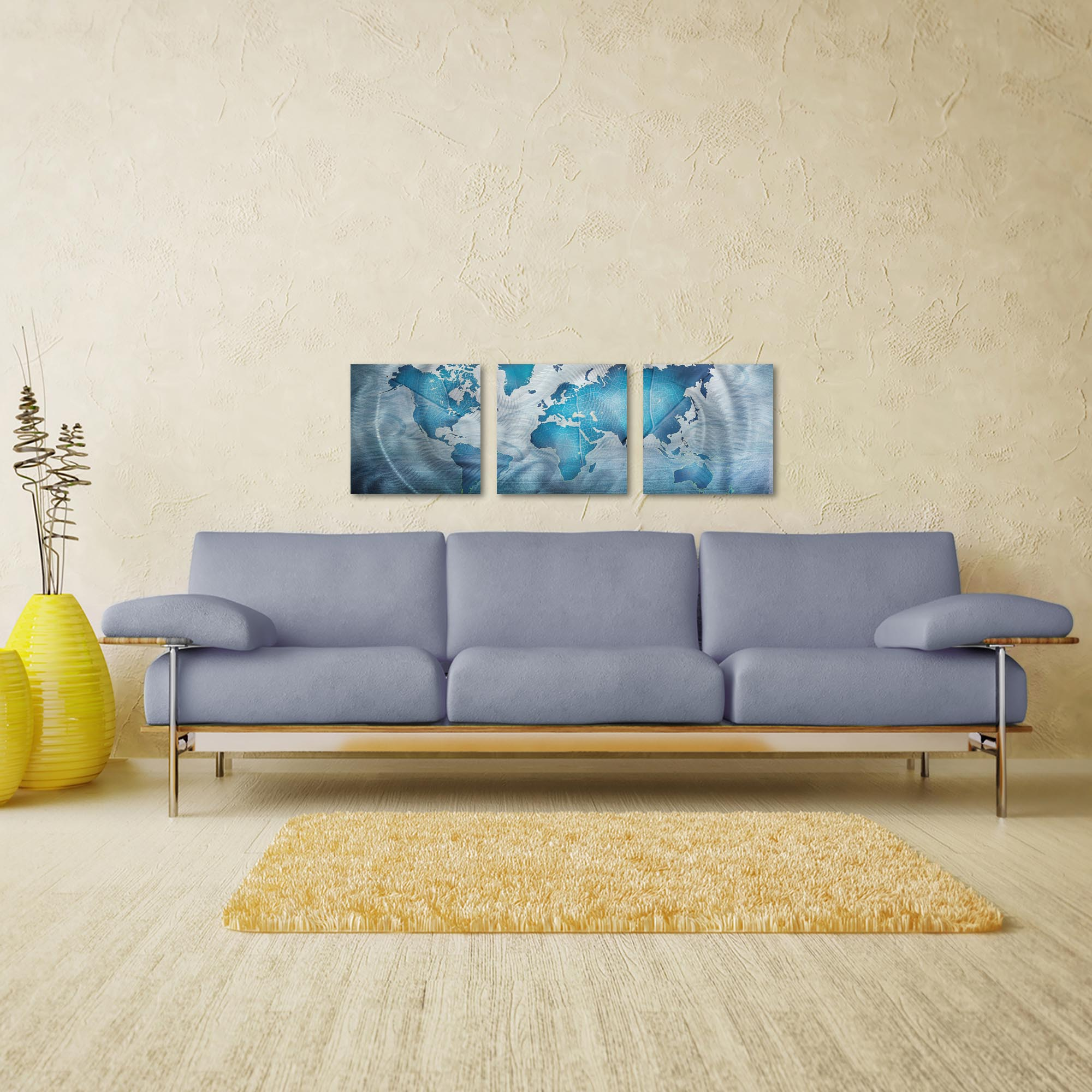 Land and Sea Triptych 38x12in. Metal or Acrylic Contemporary Decor - Lifestyle View