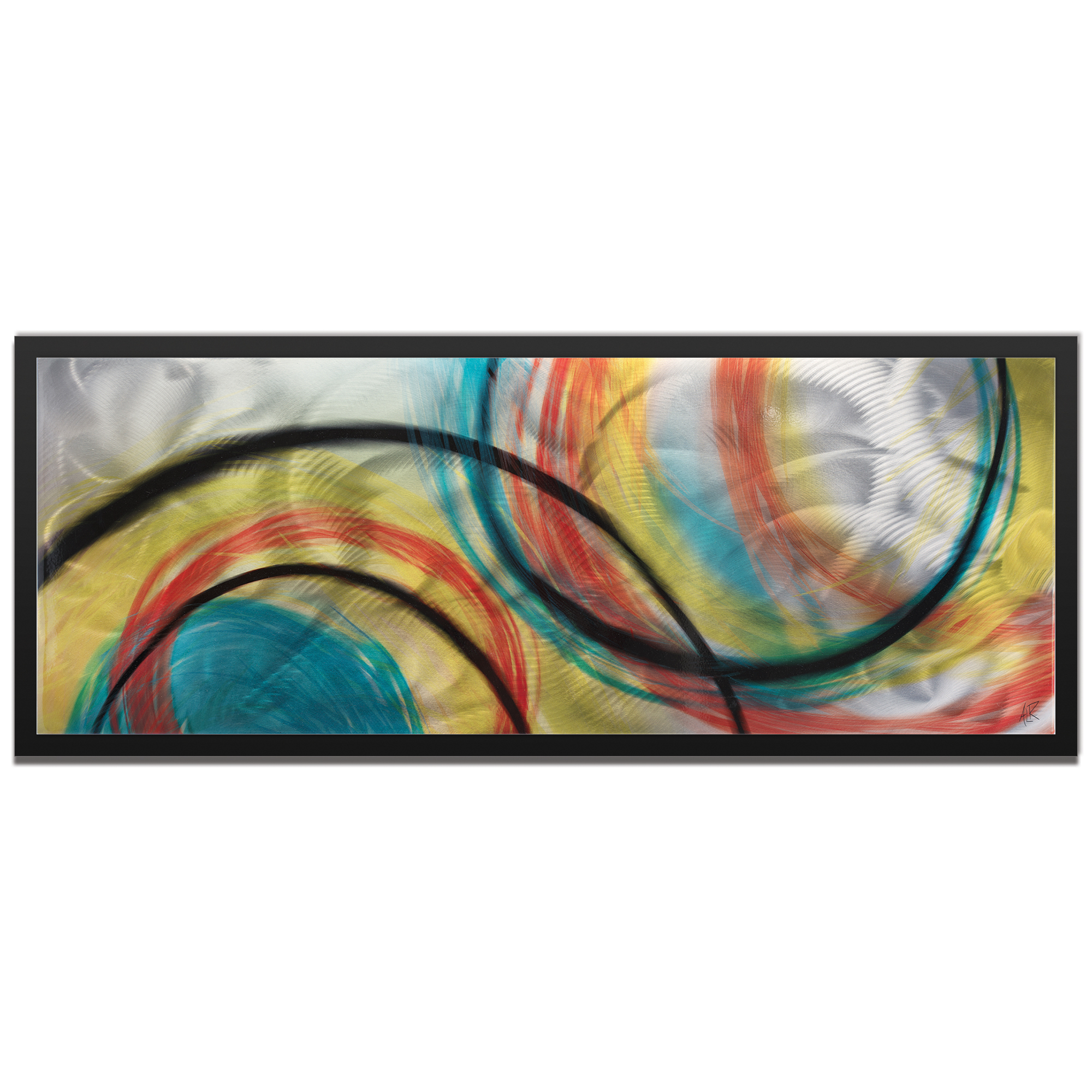 Amber LaRosa 'Rainbow Seasons Framed' 48in x 19in Abstract Rainbow Painting Art on Colored Metal