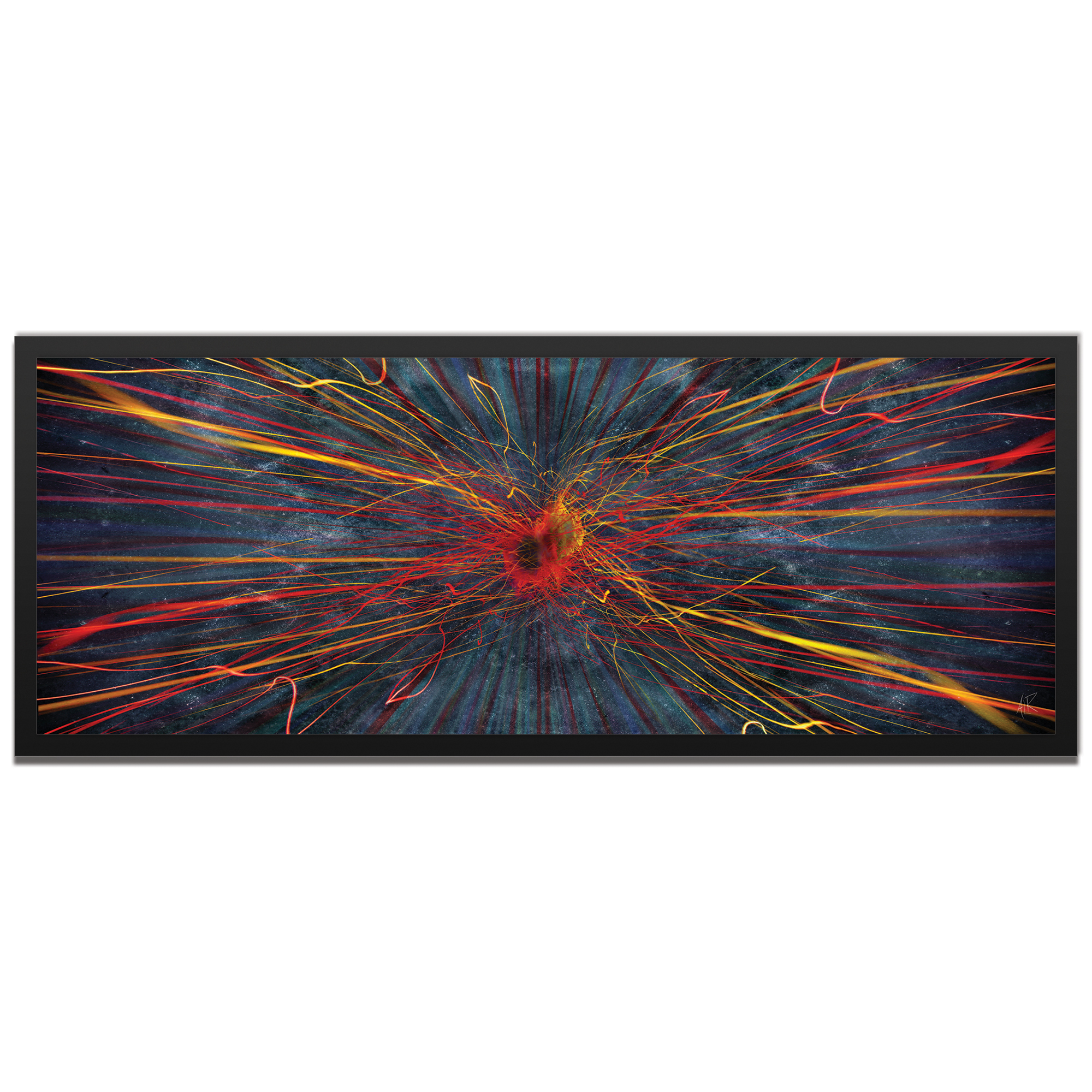 Amber LaRosa 'Implosion Framed' 48in x 19in Abstract Urban Decor Art on Colored Metal