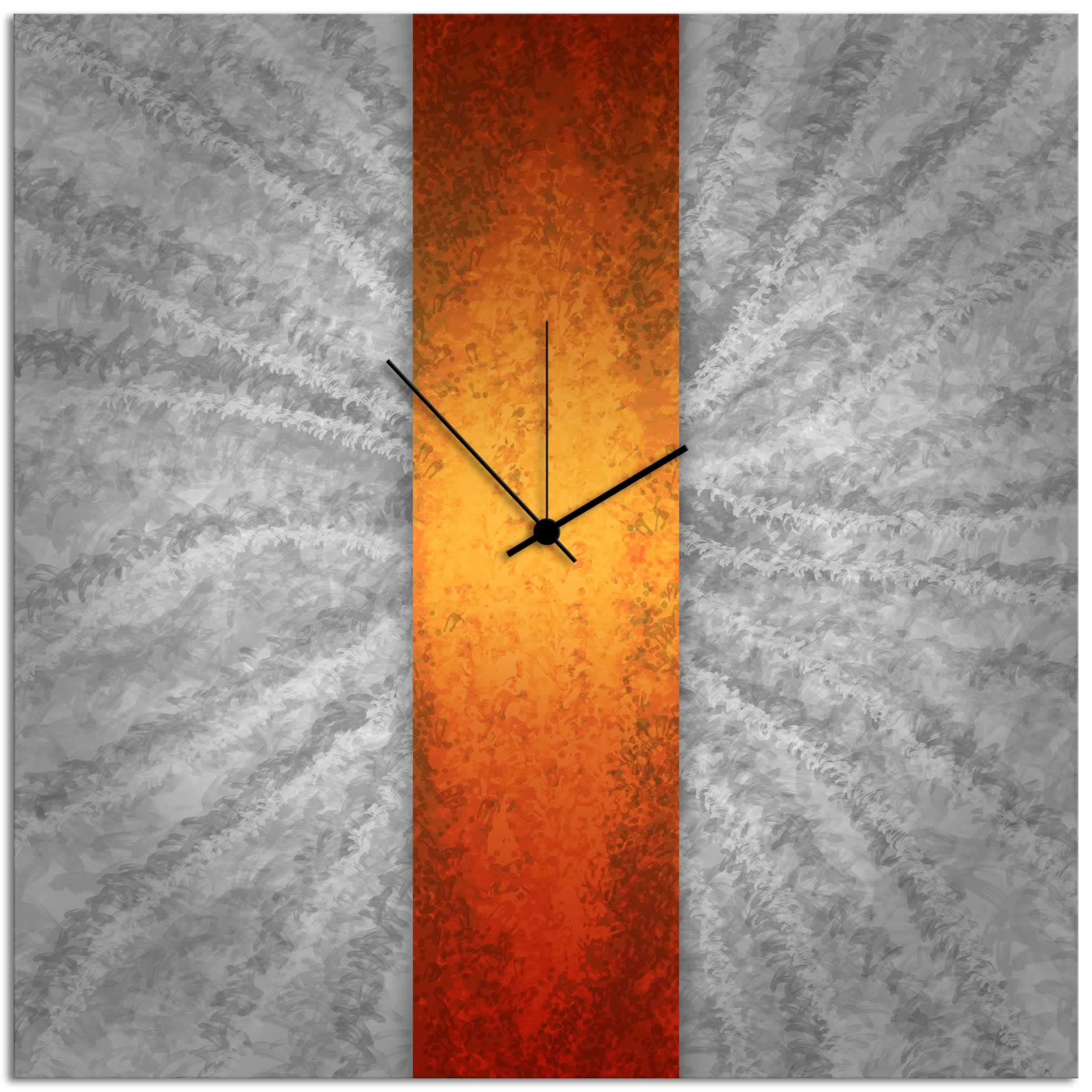 Orange Stripe Clock - Modern Metal Wall Clock