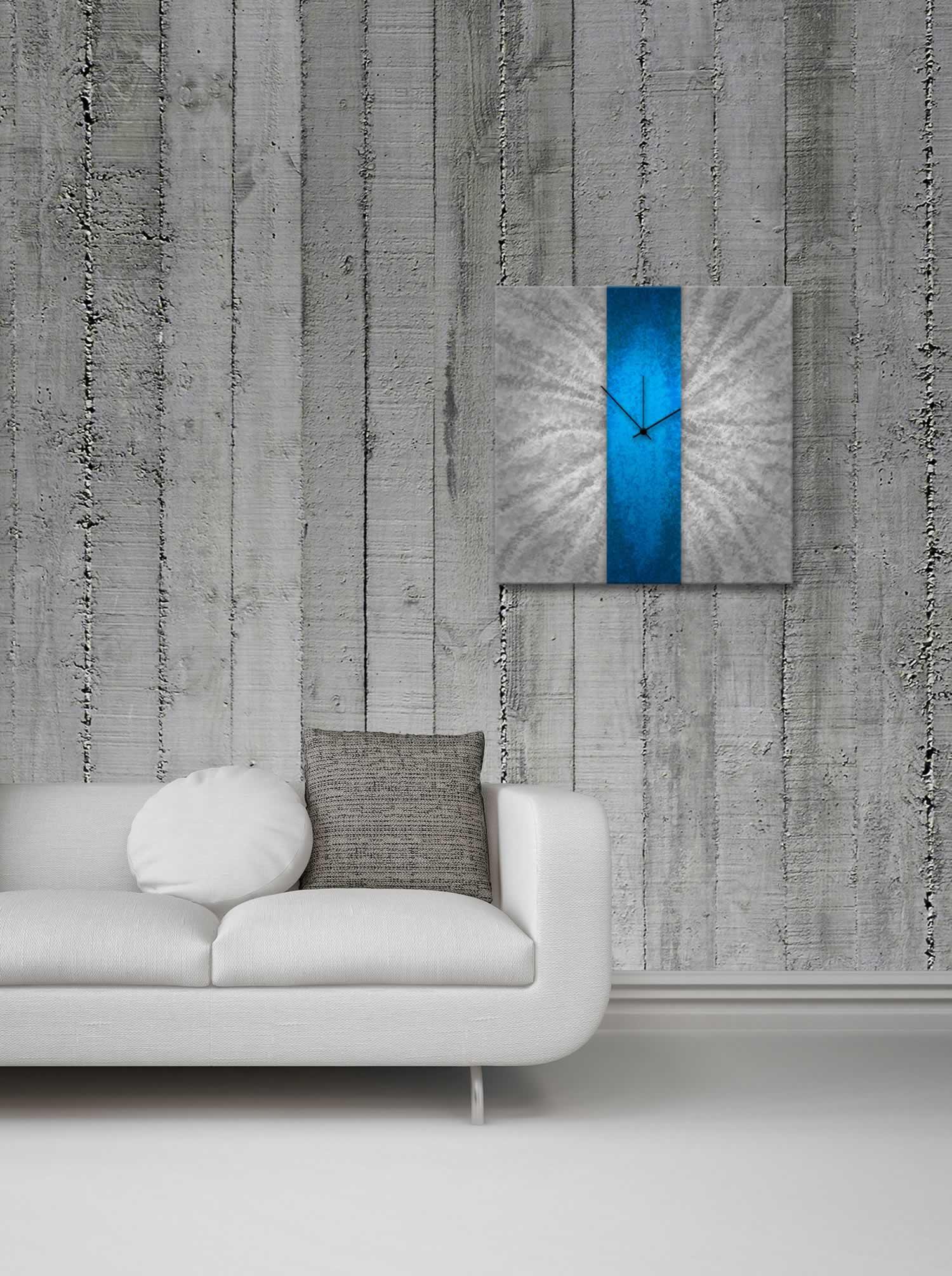 Blue Stripe Clock - Modern Metal Wall Clock - Lifestyle Image