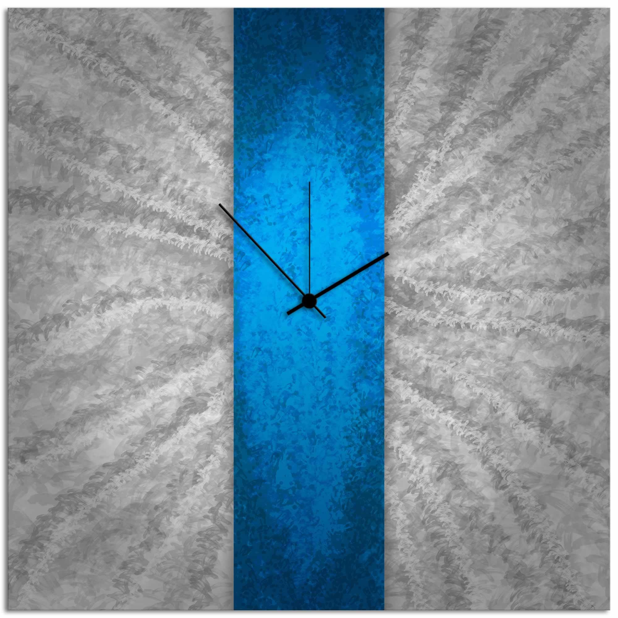 Blue Stripe Clock - Modern Metal Wall Clock