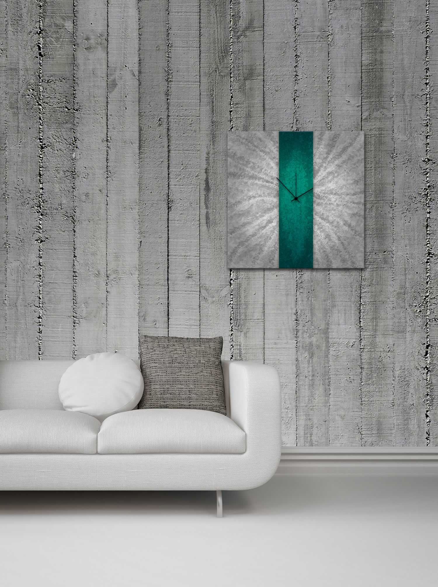 Teal Stripe Clock - Modern Wall Decor - Lifestyle Image