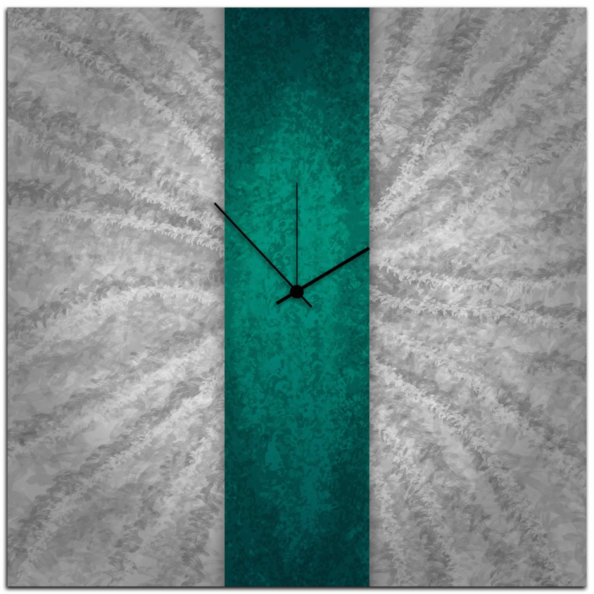 Teal Stripe Clock - Modern Wall Decor