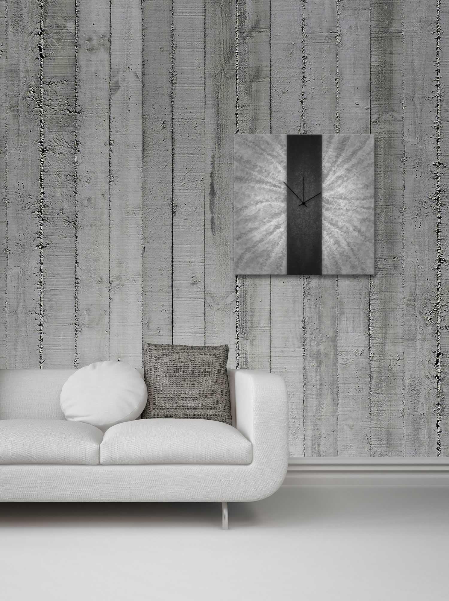Black Stripe Clock - Modern Metal Wall Clock - Lifestyle Image