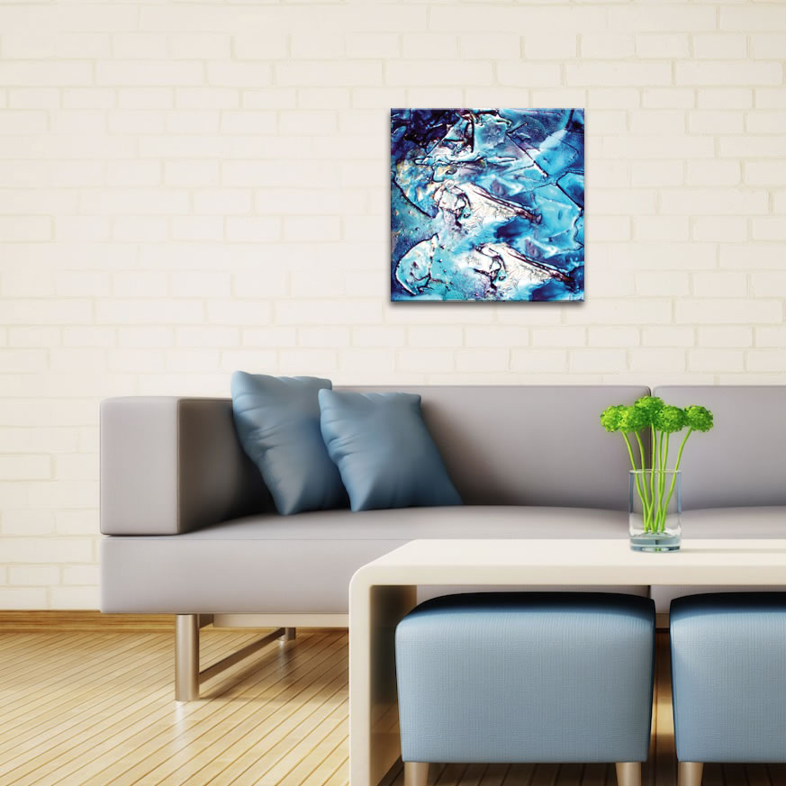 Cool Jazz - Blue Paint-Splatter Abstract Wall Art - Lifestyle Image