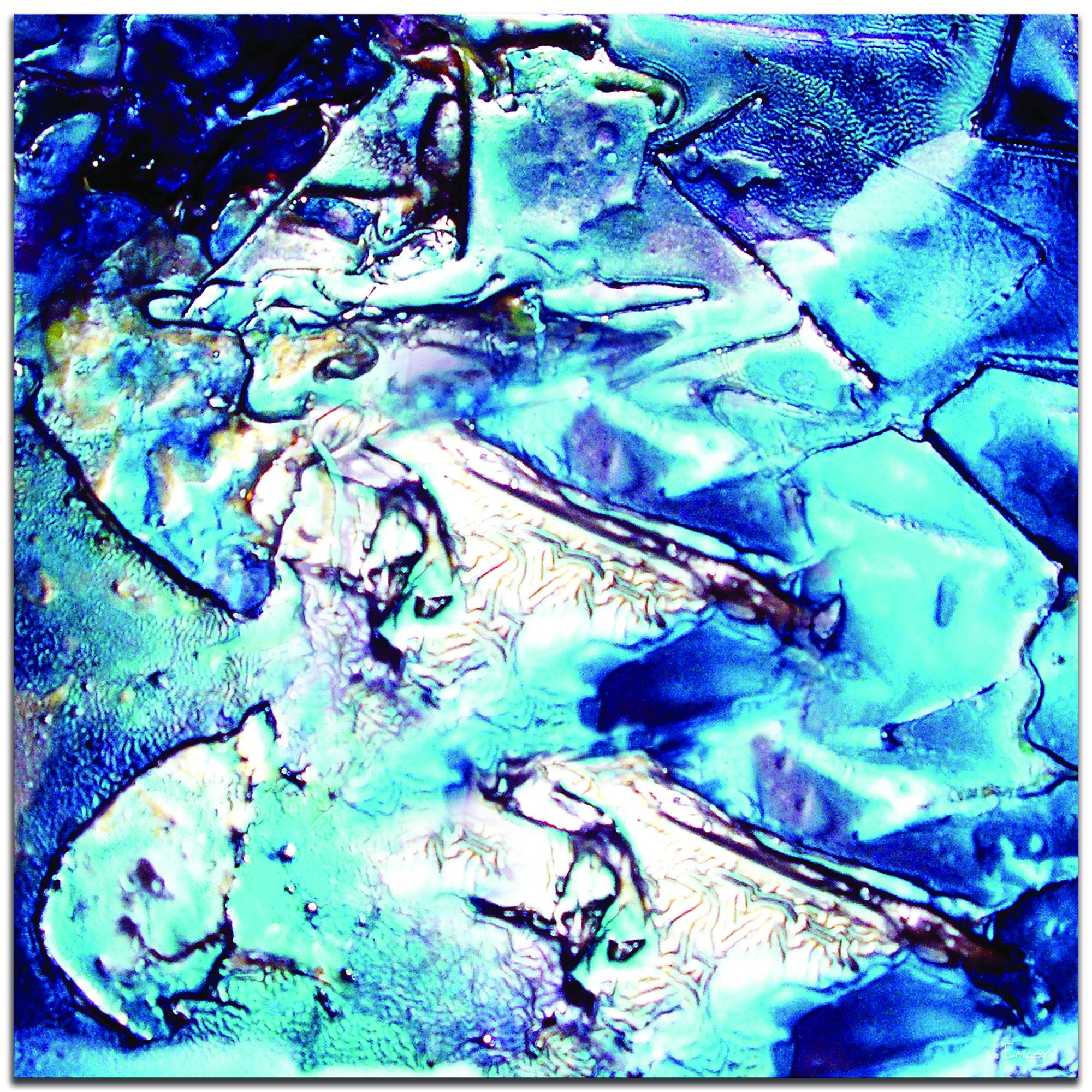 Cool Jazz - Blue Paint-Splatter Abstract Wall Art