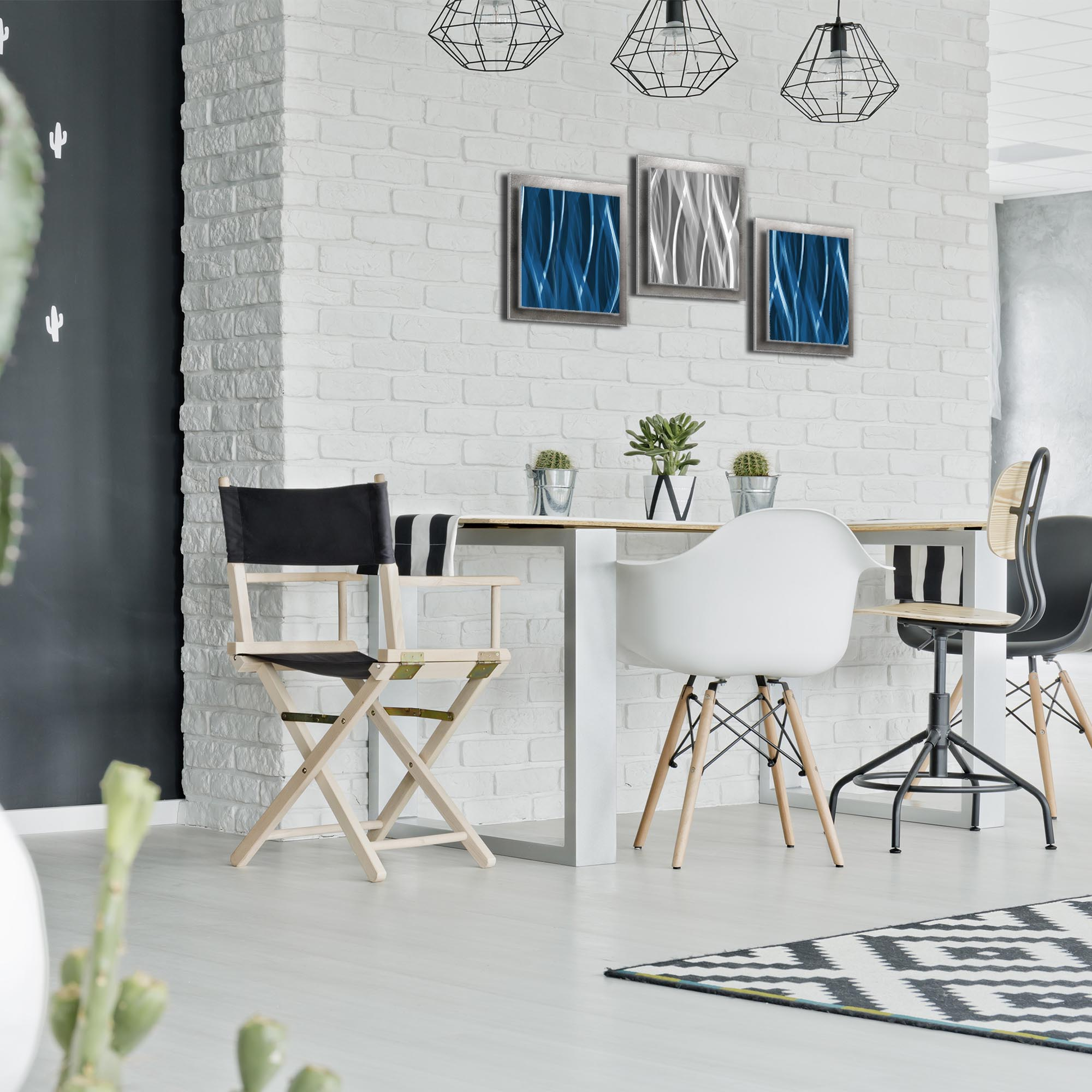 Blue Silver Essence: Layered Modern Metal Wall Art - Lifestyle Image