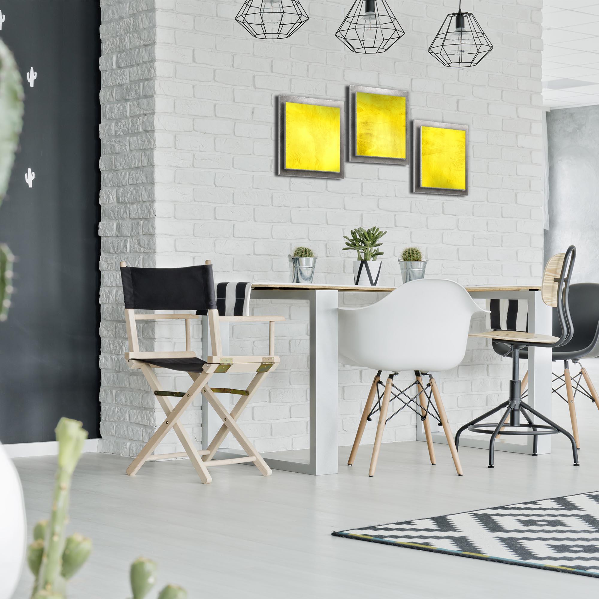 Yellow Essence - Layered Modern Metal Wall Art - Lifestyle Image