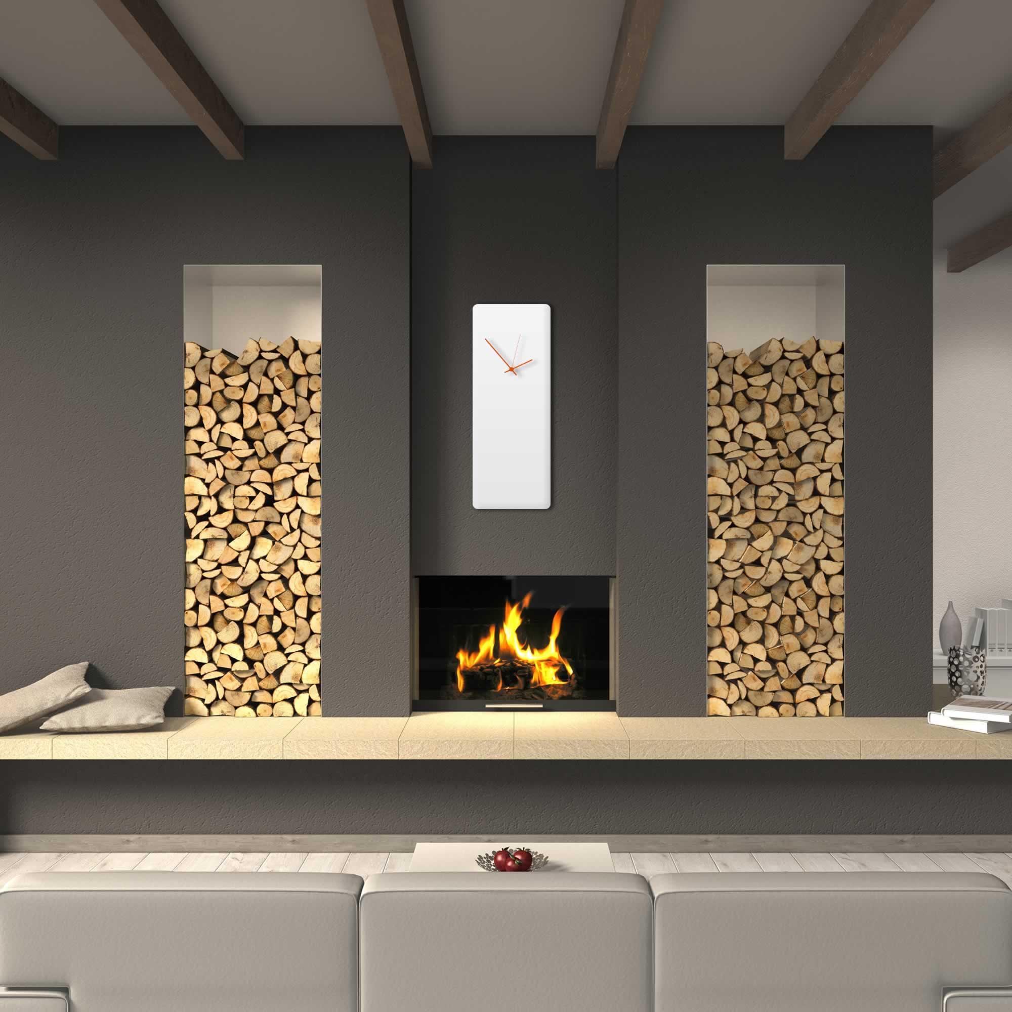 Whiteout Orange Wall Clock Large - Contemporary - Lifestyle Image