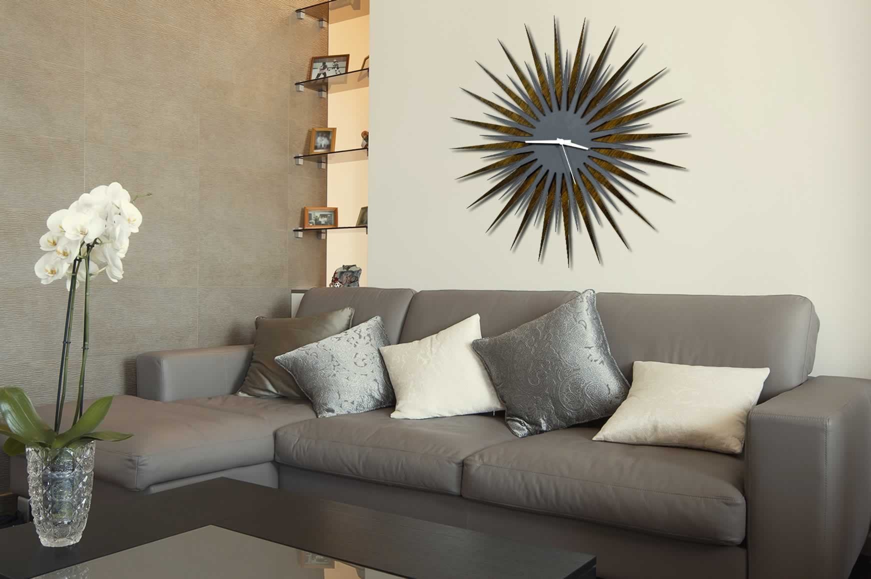RF Atomic Clock - Walnut Grey/White Starburst - Lifestyle Image