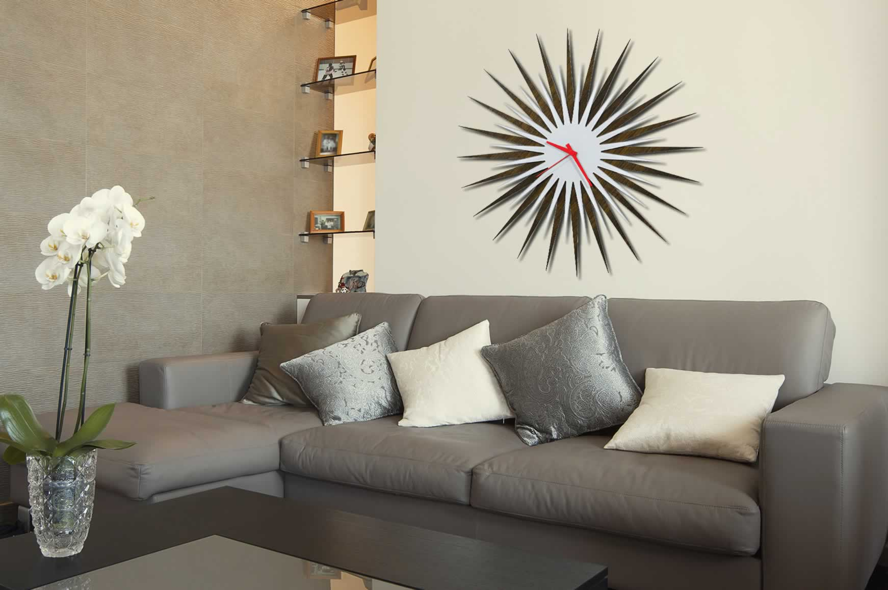 RF Atomic Clock - Walnut White/Red Starburst - Lifestyle Image
