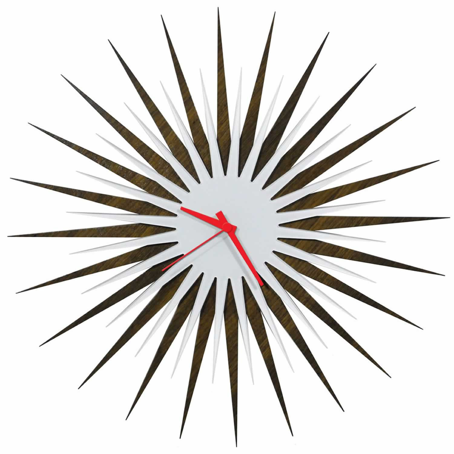 RF Atomic Clock - Walnut White/Red Starburst