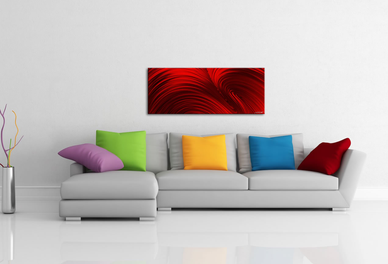 Fusion Red - Contemporary Metal Wall Art - Lifestyle Image