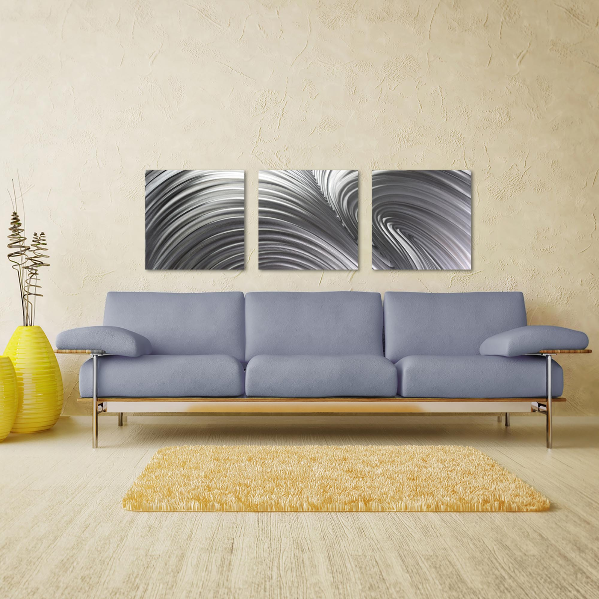 Fusion Triptych Large 70x22in. Metal or Acrylic Contemporary Decor - Lifestyle View