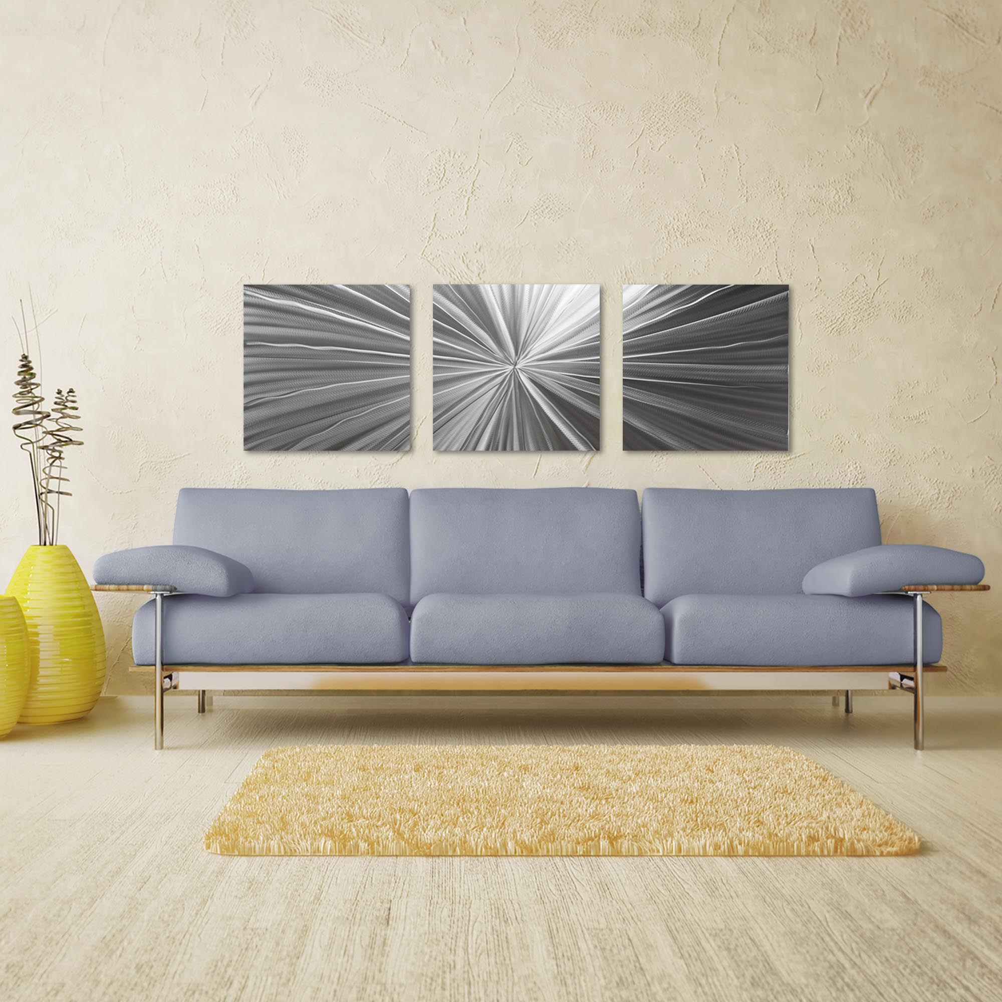 Tantalum Triptych Large 70x22in. Metal or Acrylic Contemporary Decor - Lifestyle View