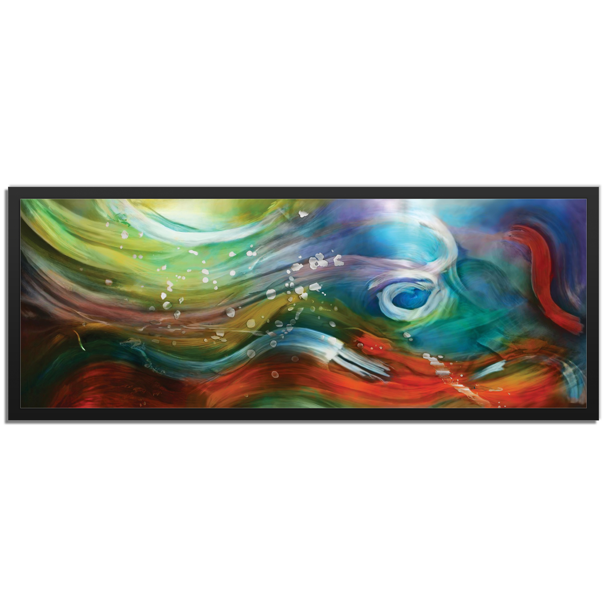 NAY 'Esne Composition Framed' 48in x 19in Abstract Rainbow Art Art on Colored Metal
