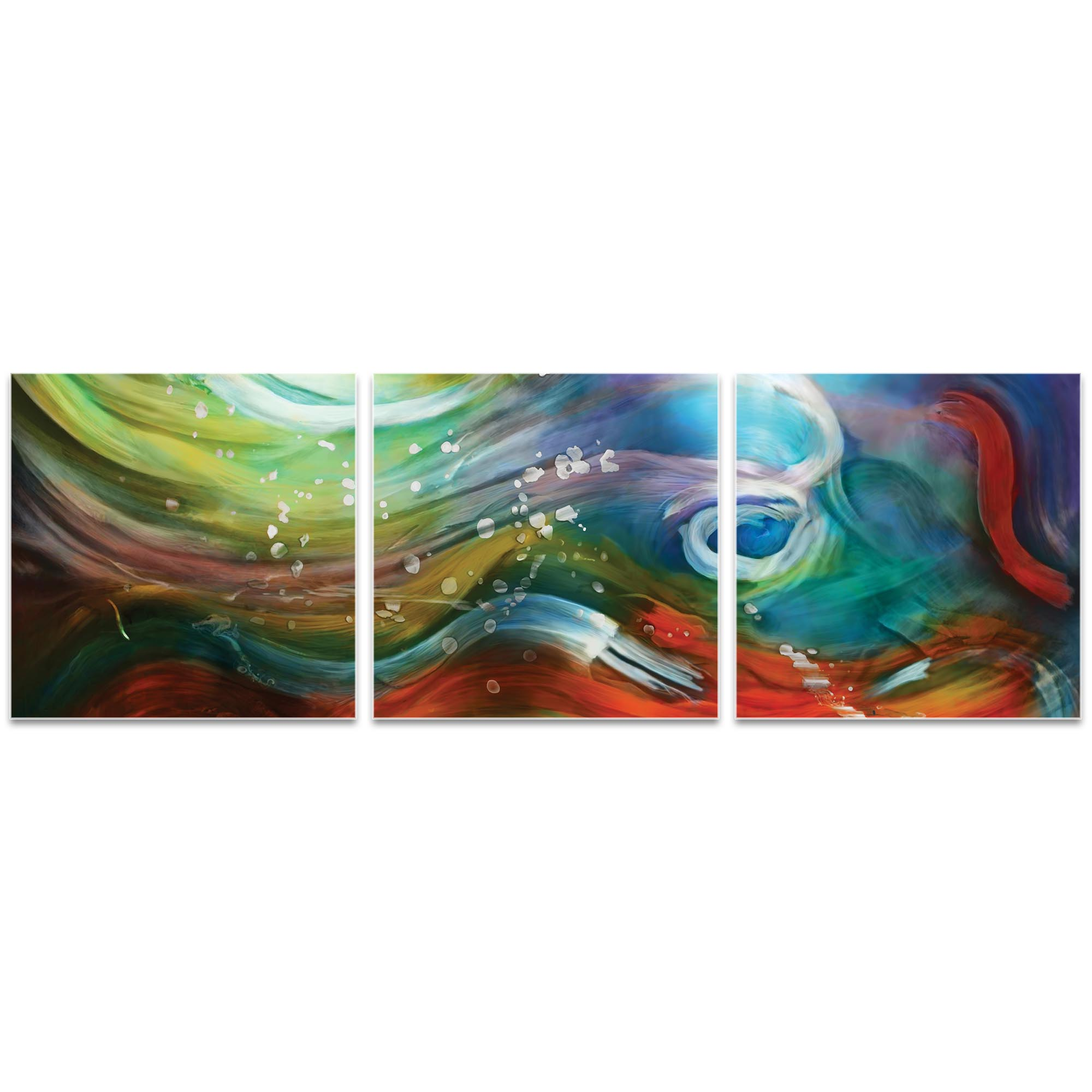 Esne Triptych Large 70x22in. Metal or Acrylic Abstract Decor - Image 2