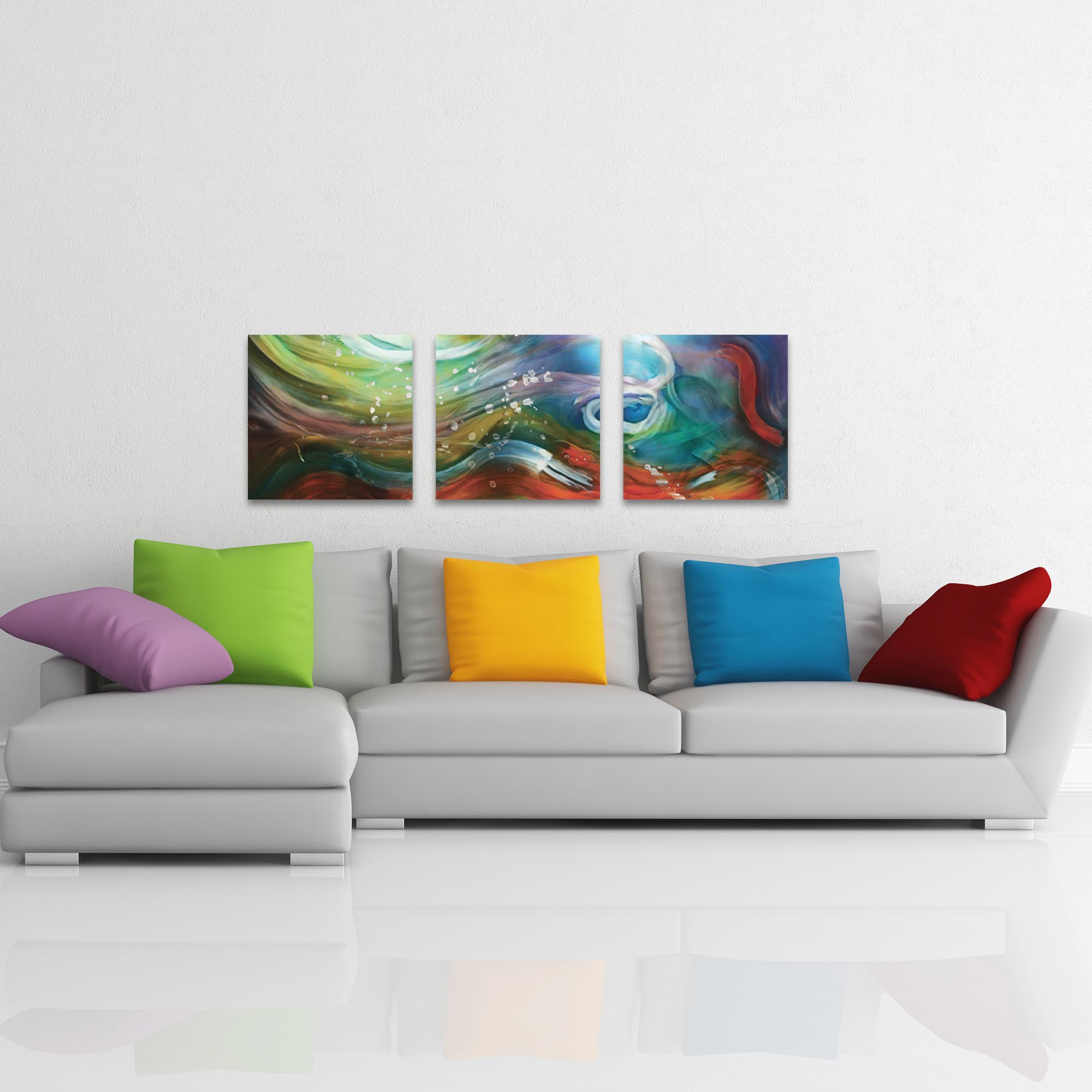 Esne Triptych Large 70x22in. Metal or Acrylic Abstract Decor - Lifestyle View