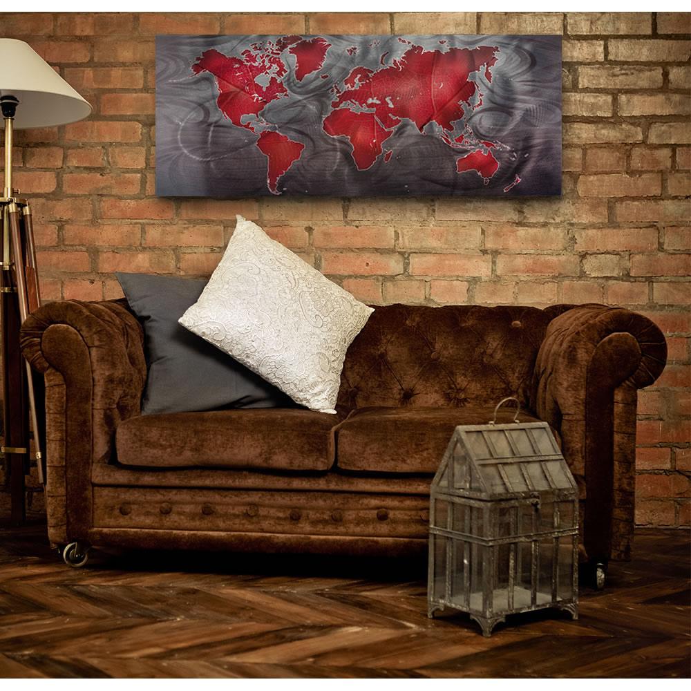 Red/Pewter Land & Sea - Modern Map Art - Lifestyle Image
