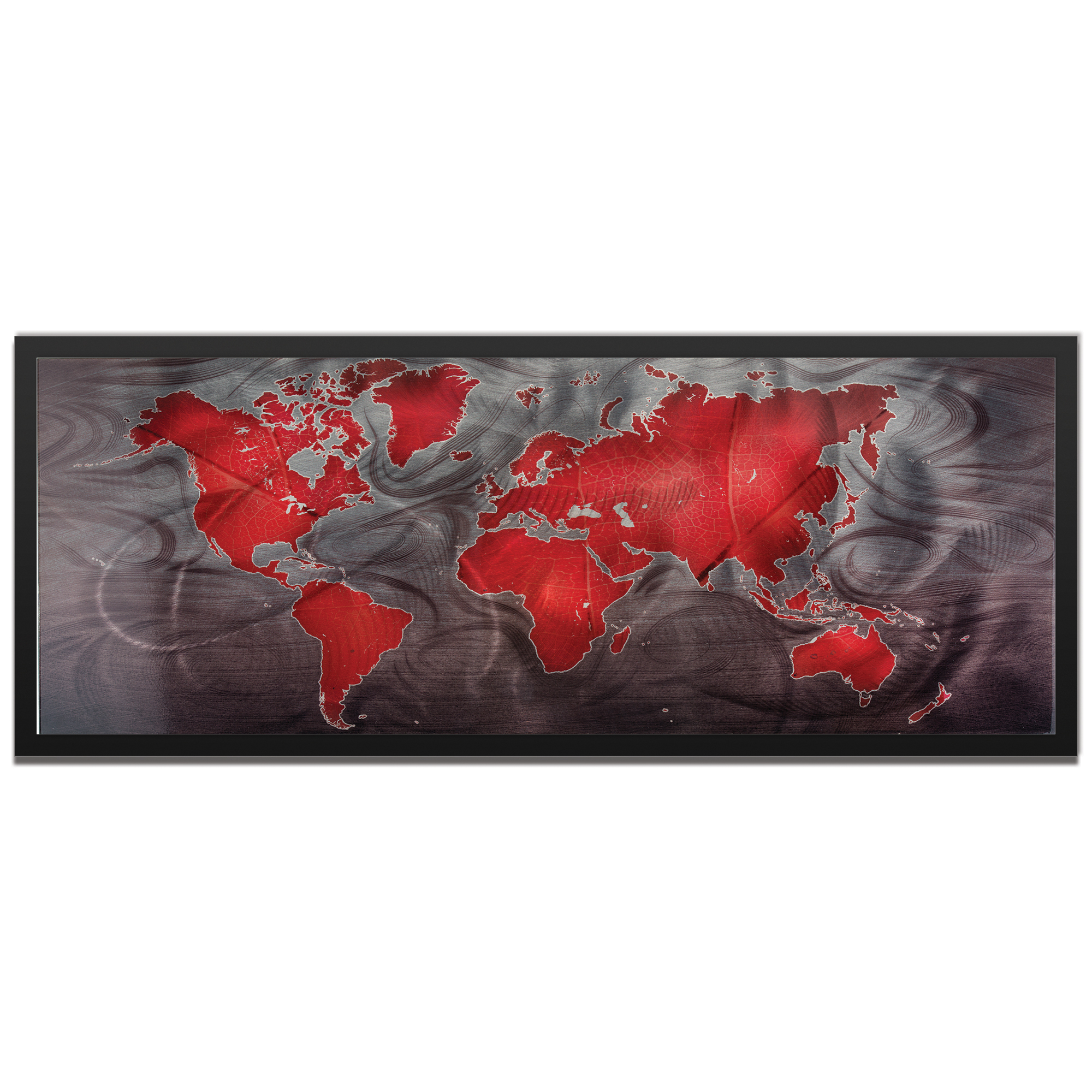 Amber LaRosa 'Red Pewter Land and Sea Framed' 48in x 19in Traditional World Map Art on Colored Metal