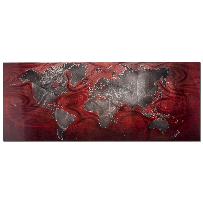 Red/Pewter Land & Sea v2 - Modern Map Art