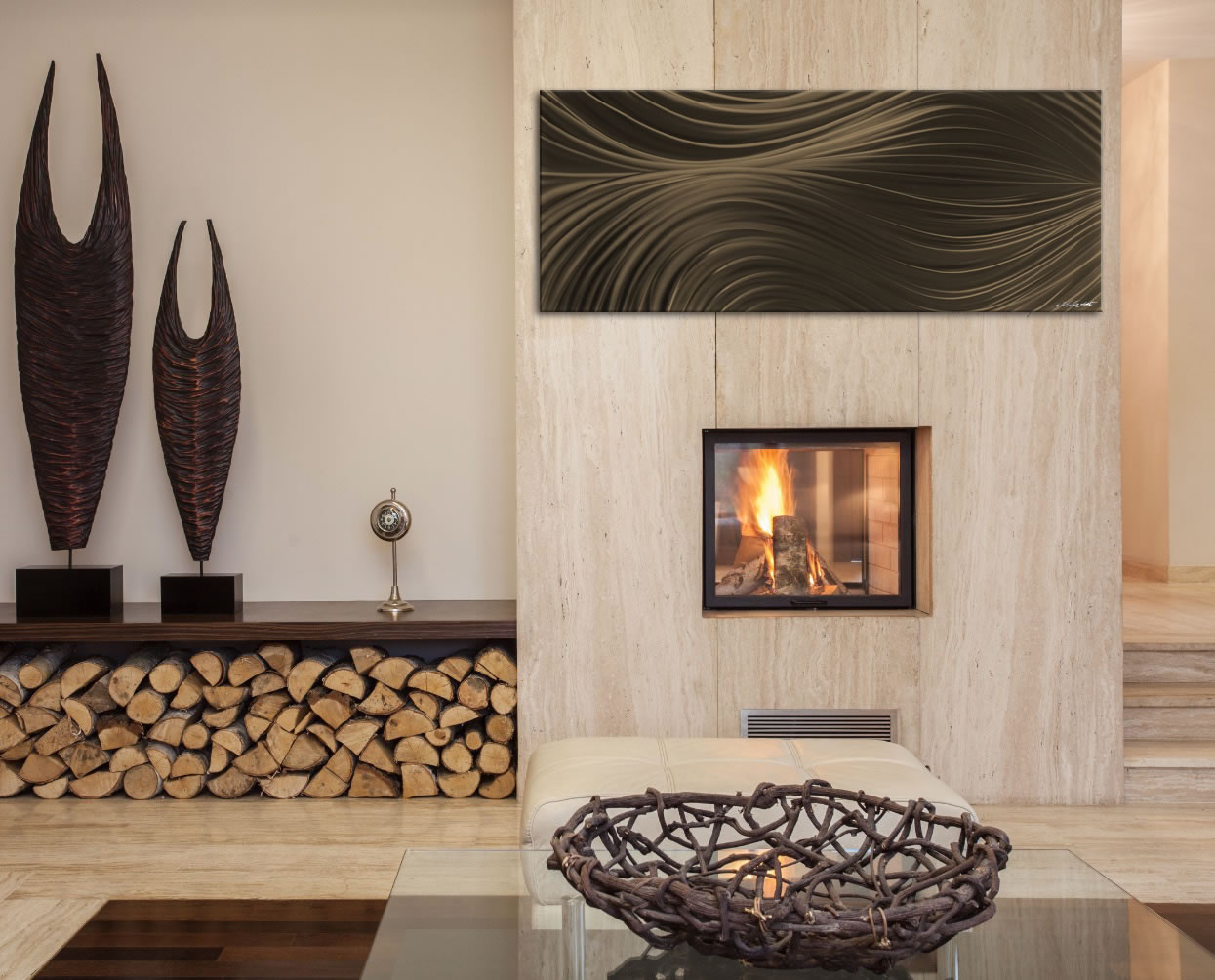 Passing Currents Bronze - Contemporary Metal Wall Art - Lifestyle Image