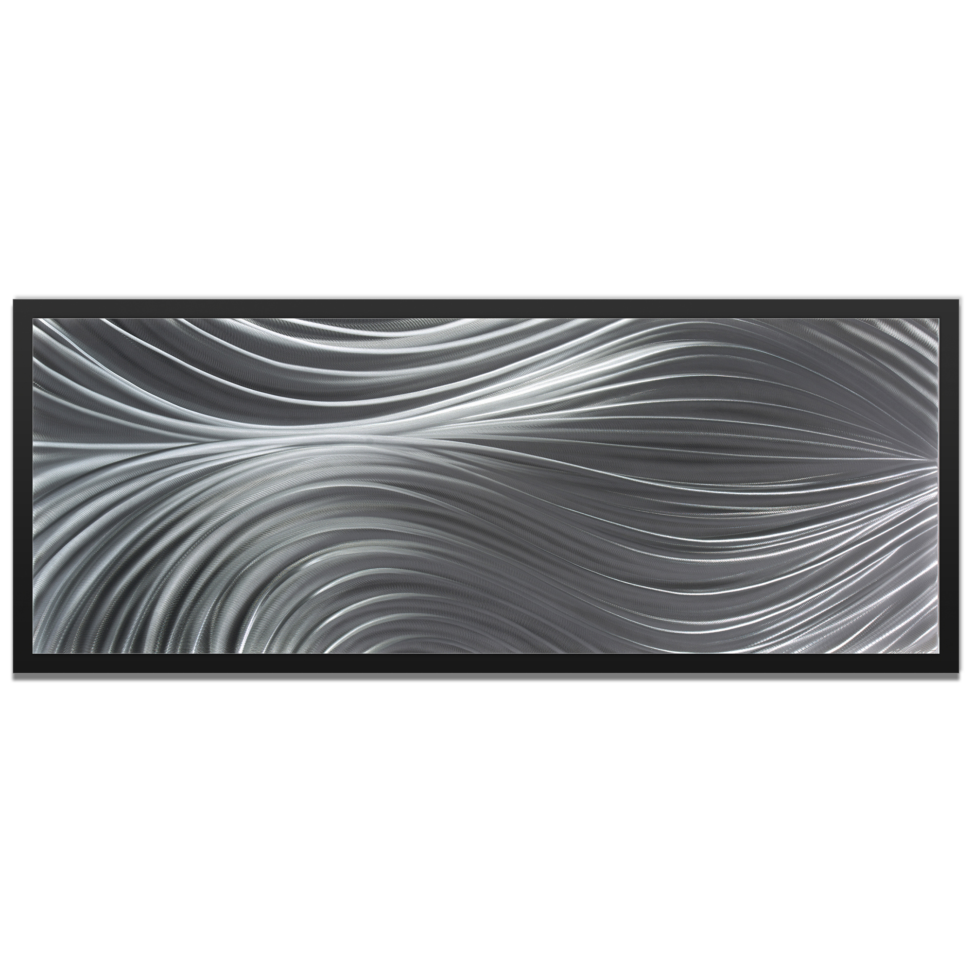 NAY 'Passing Currents Composition Framed' 48in x 19in Abstract Urban Decor Art on Colored Metal