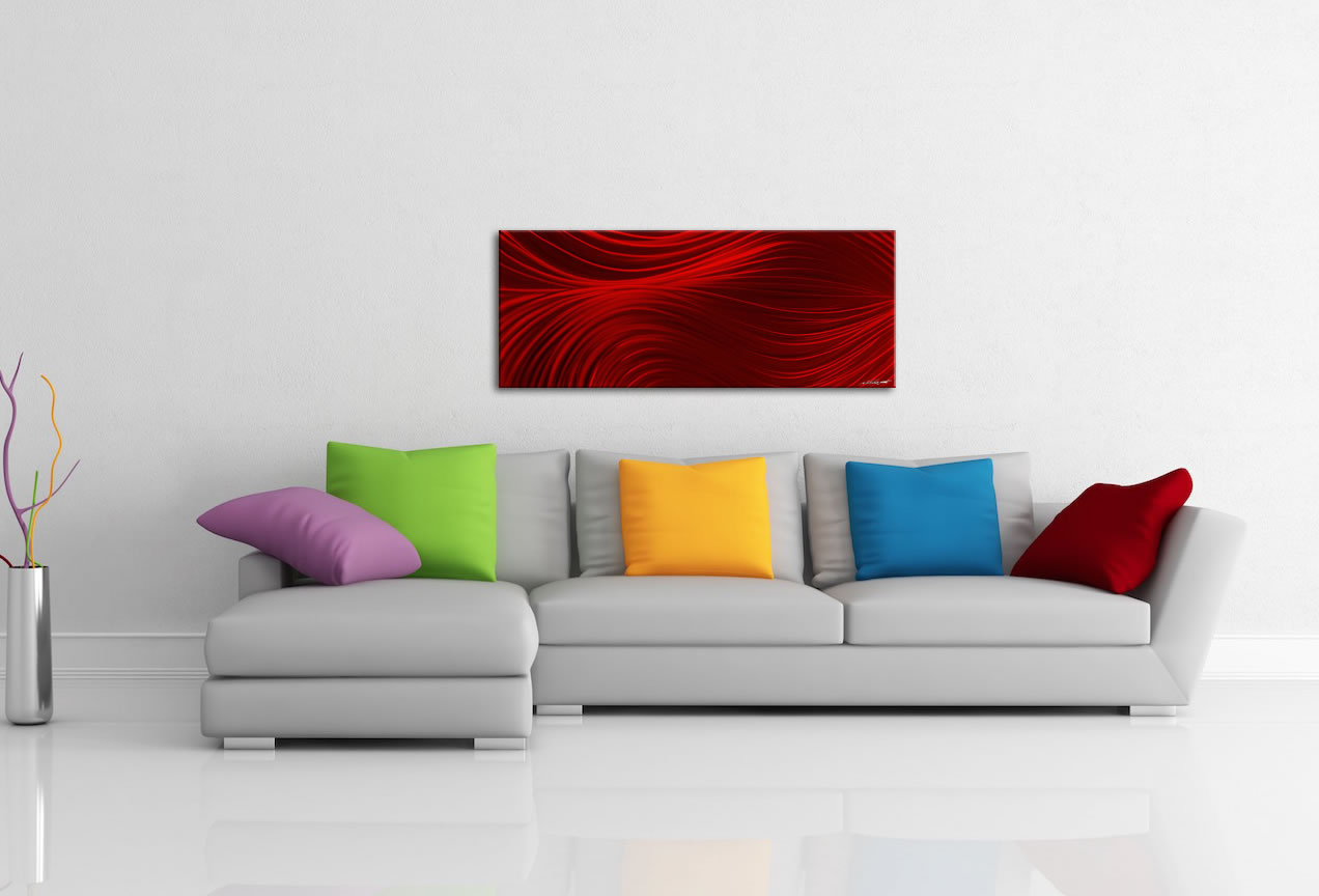 Passing Currents Red - Contemporary Metal Wall Art - Lifestyle Image