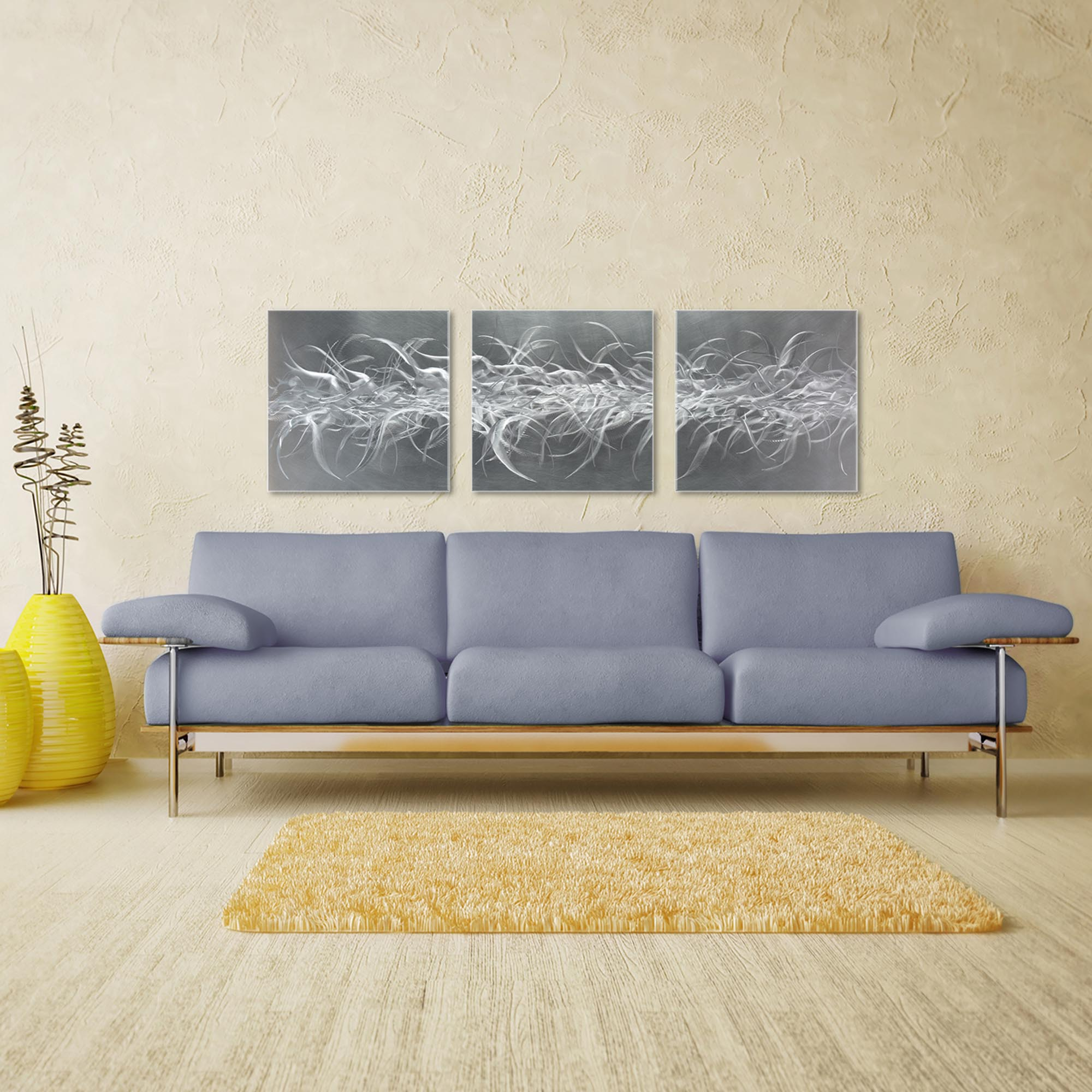 Electric Fields Triptych Large 70x22in. Metal or Acrylic Contemporary Decor - Image 3