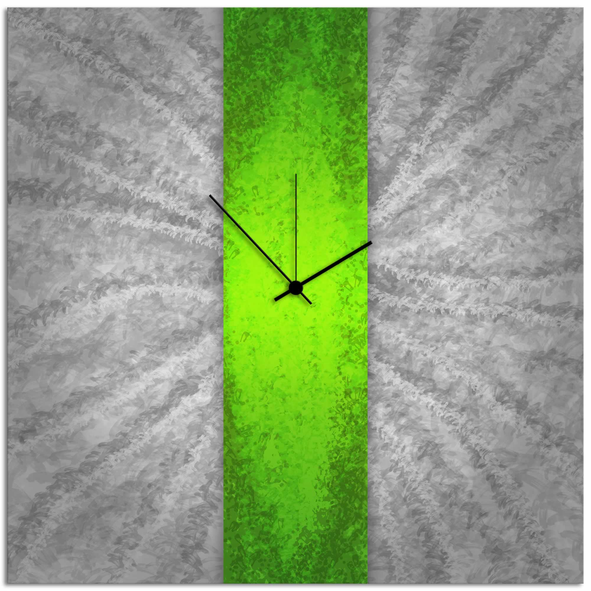 Green Stripe Clock - Contemporary Metal Wall Clock